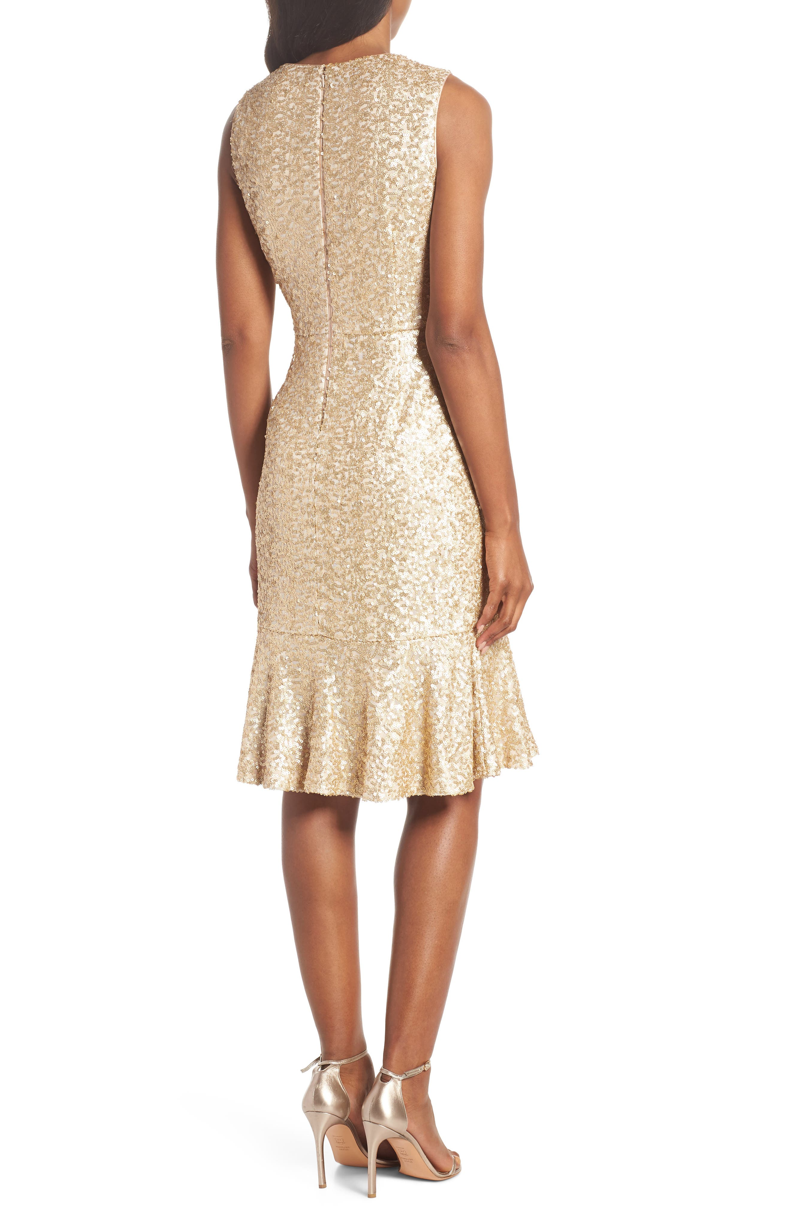 Sequin Ruffle Hem Sheath Dress,                             Alternate thumbnail 2, color,                             710