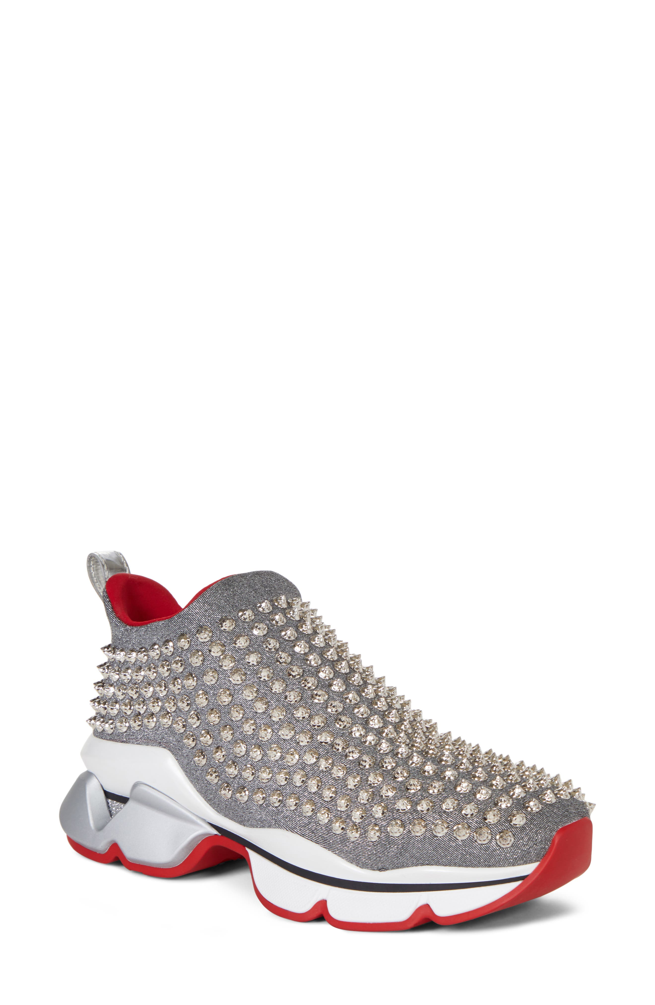 CHRISTIAN LOUBOUTIN Spiky Sock-Knit Slip-On Sneaker, Main, color, SILVER