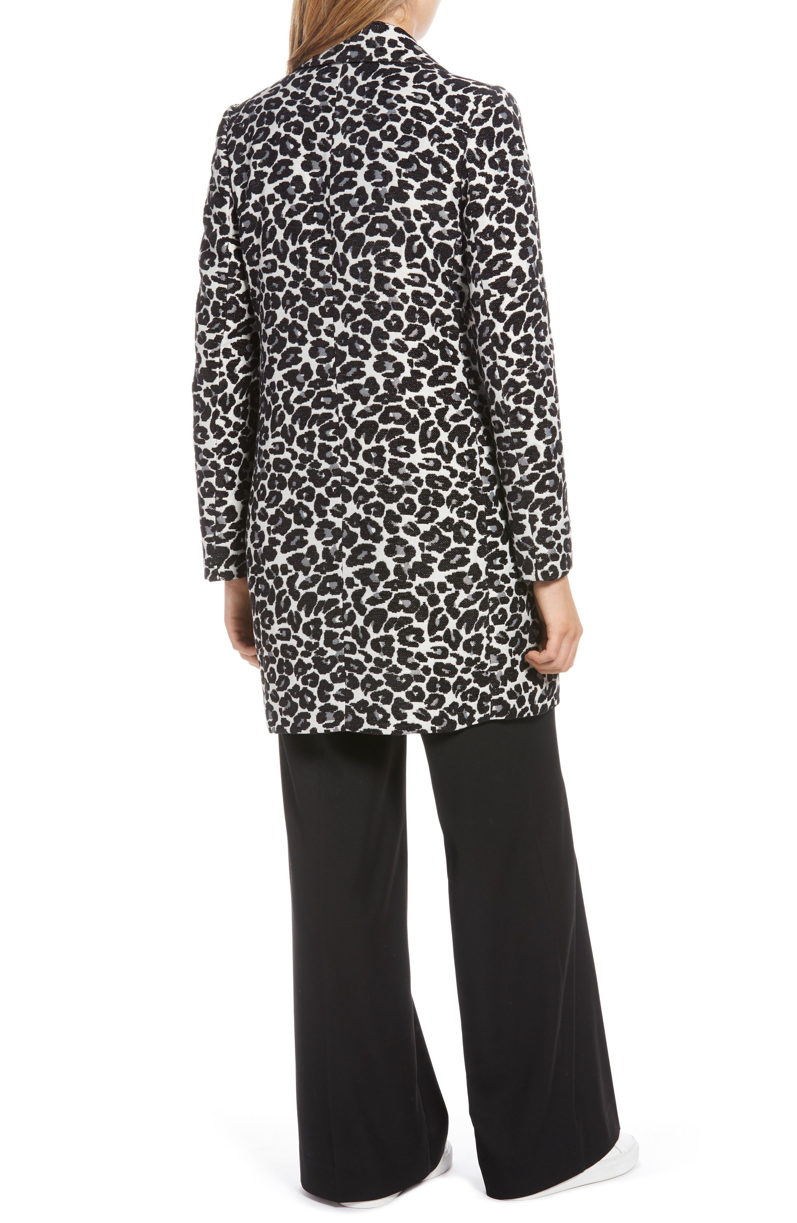 Leopard Coat,                             Alternate thumbnail 2, color,                             BLACK- WHITE LEOPARD