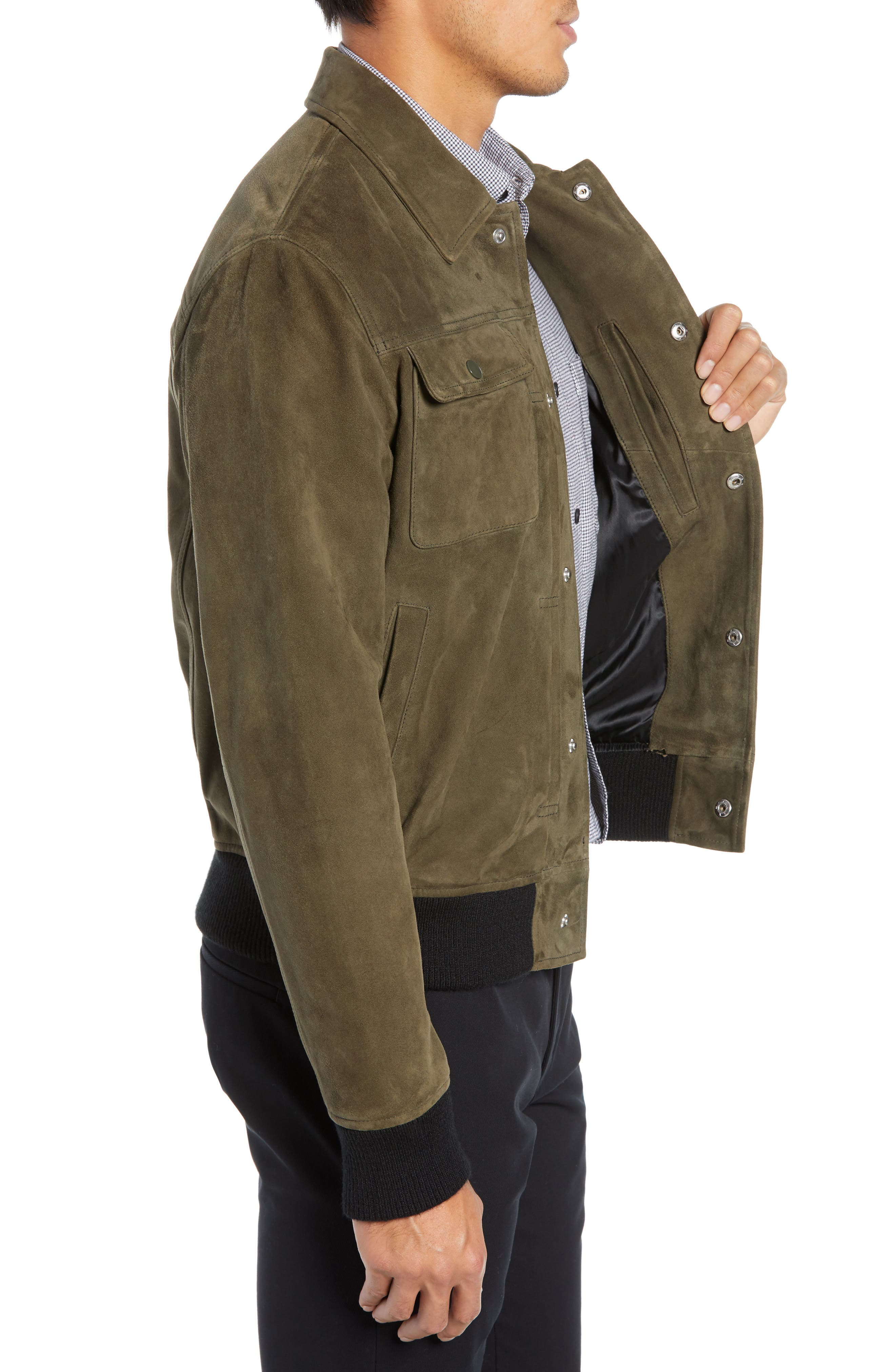 Suede Trucker Jacket,                             Alternate thumbnail 3, color,                             PALERMO OLIVE
