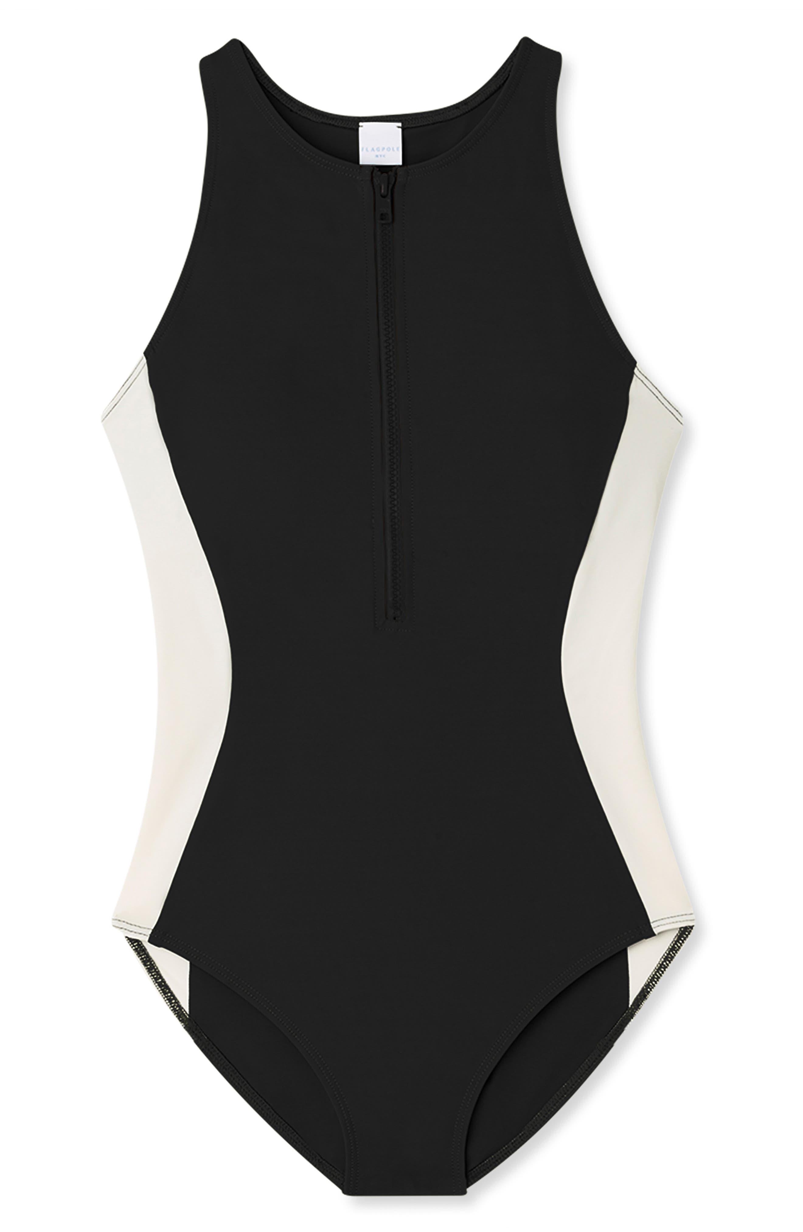 FLAGPOLE Stella One-Piece Swimsuit in Black/ Lychee