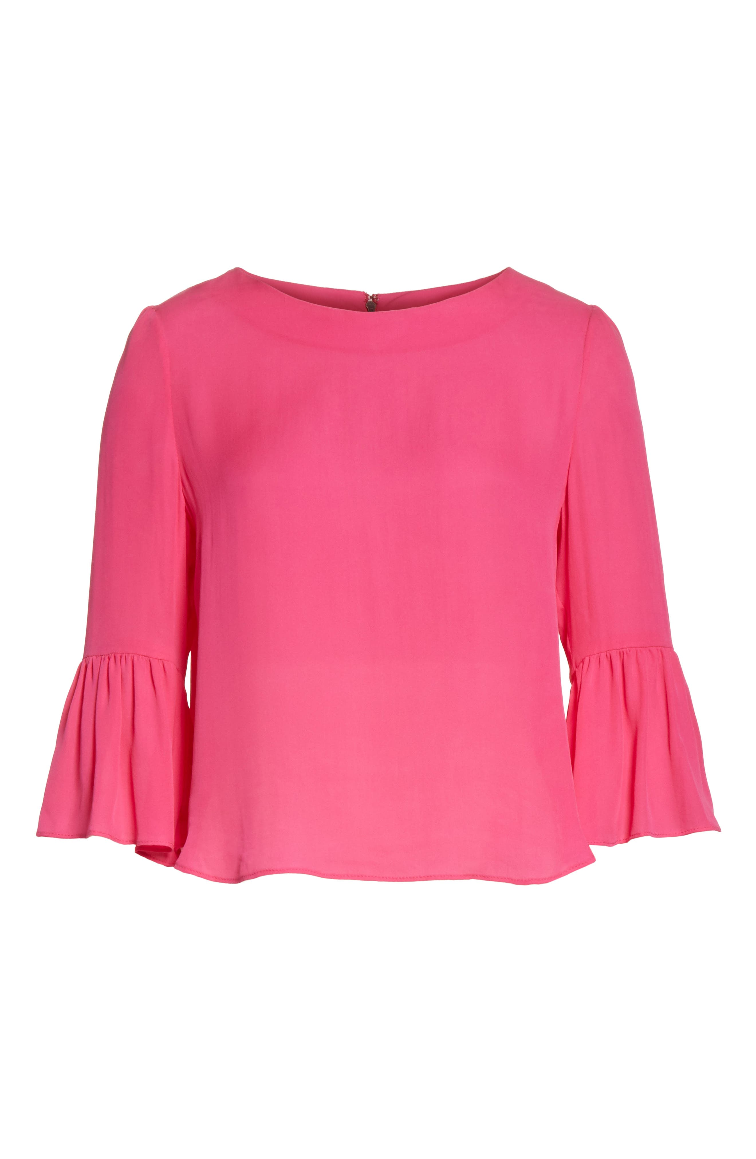 Bernice Ruffle Sleeve Silk Top,                             Alternate thumbnail 6, color,                             650