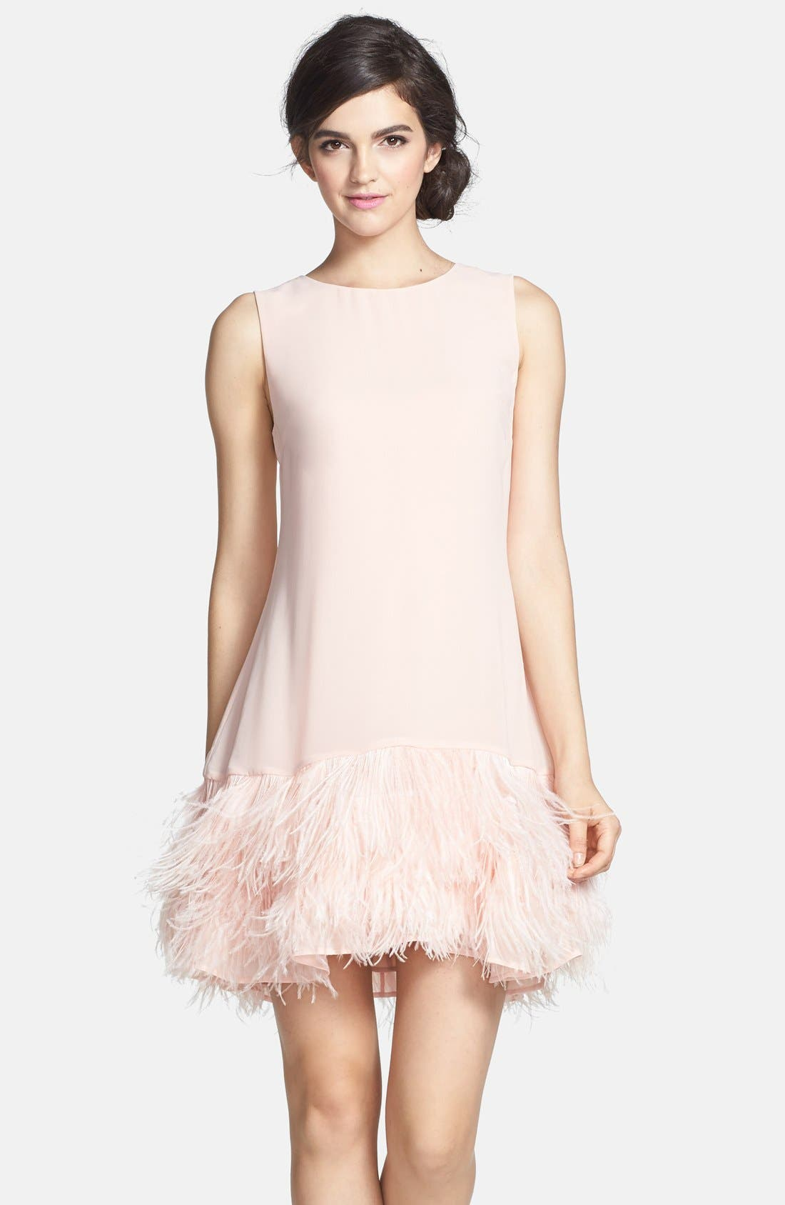 ERIN ERIN FETHERSTON,                             'Phoebe' Ostrich Feather Hem Chiffon Shift Dress,                             Main thumbnail 1, color,                             668