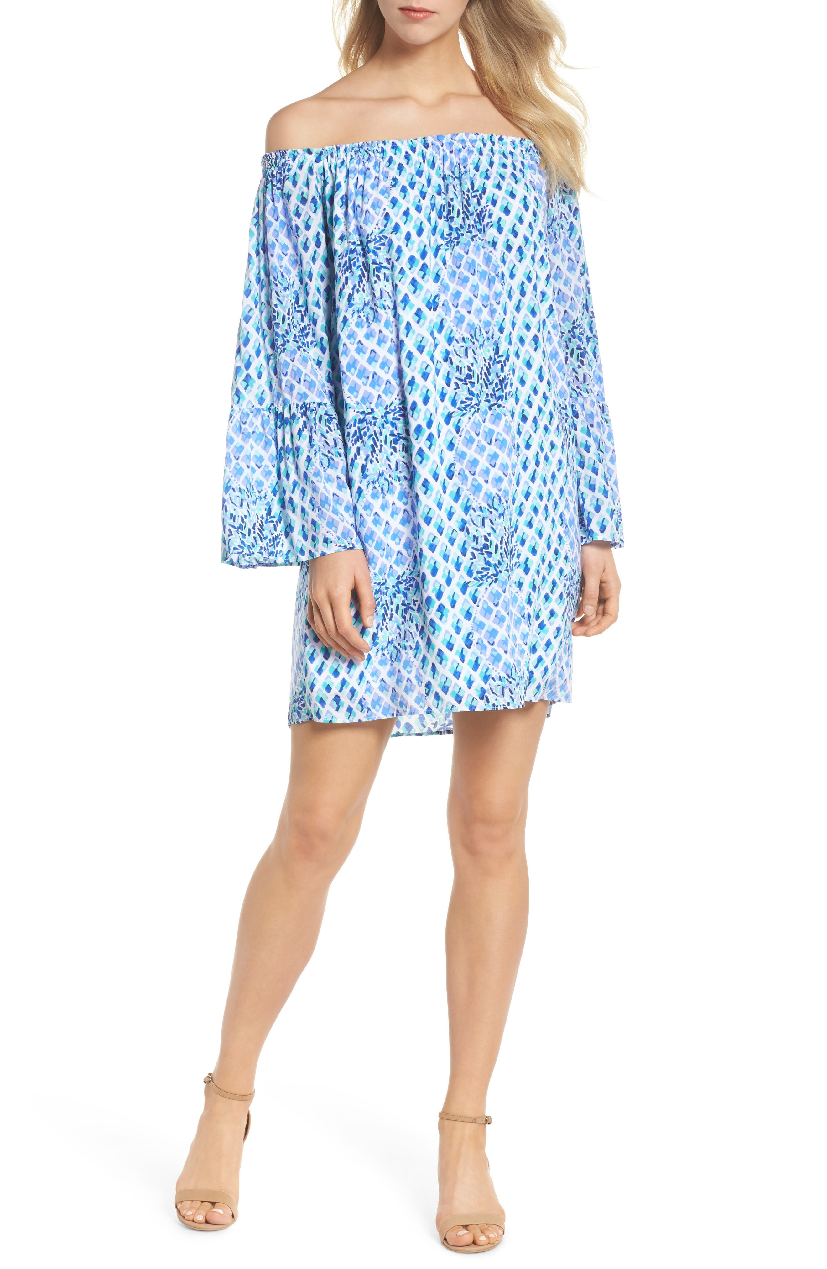 Lilly Pullitzer<sup>®</sup> Nevie Off the Shoulder Dress,                             Alternate thumbnail 5, color,