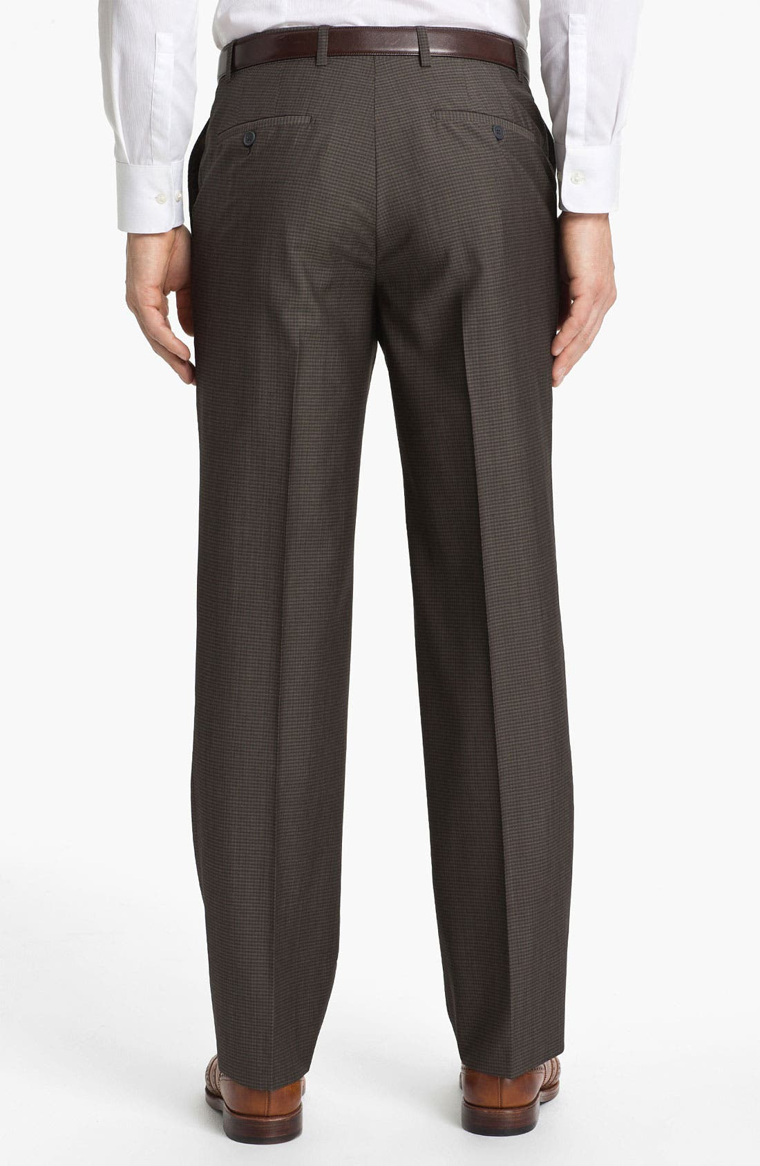 Flat Front Wool Trousers,                             Alternate thumbnail 2, color,                             200