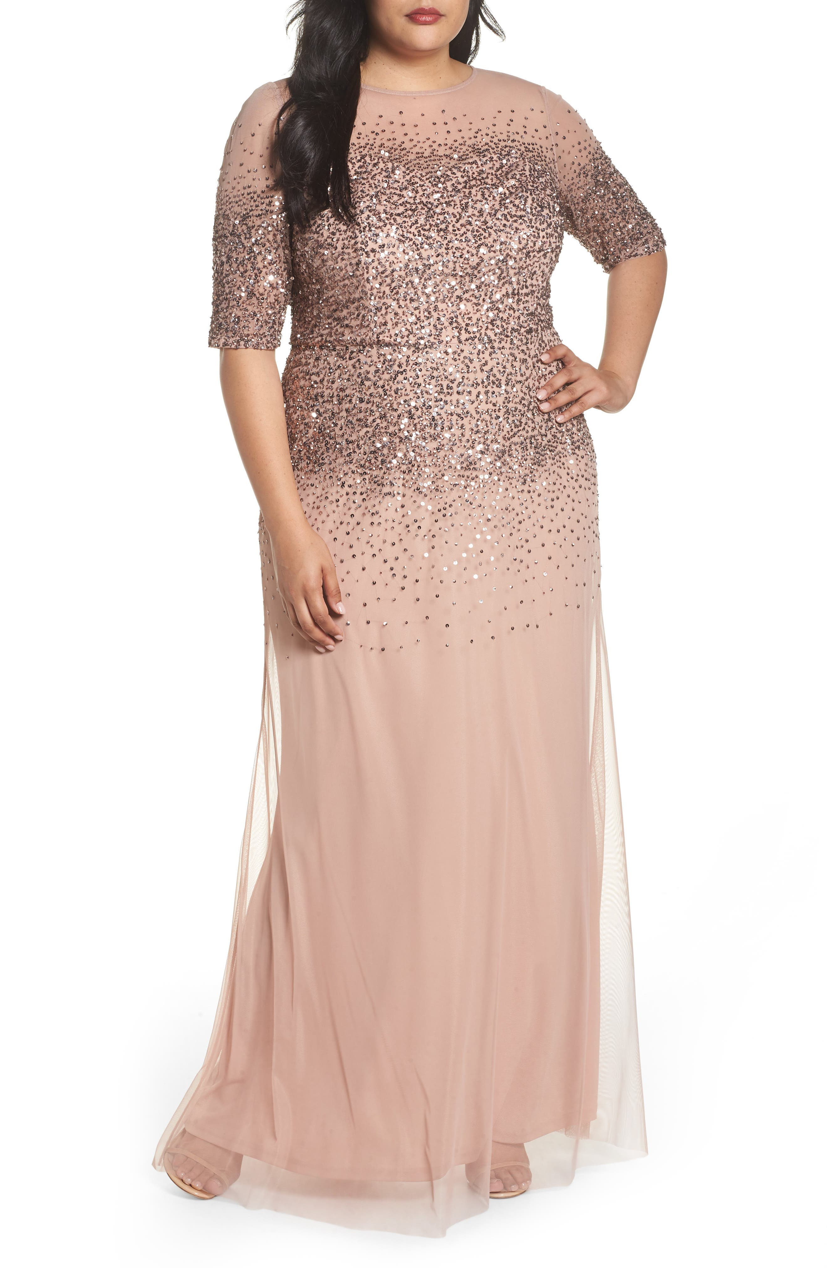 Beaded Illusion Gown,                             Main thumbnail 1, color,                             ROSE GOLD