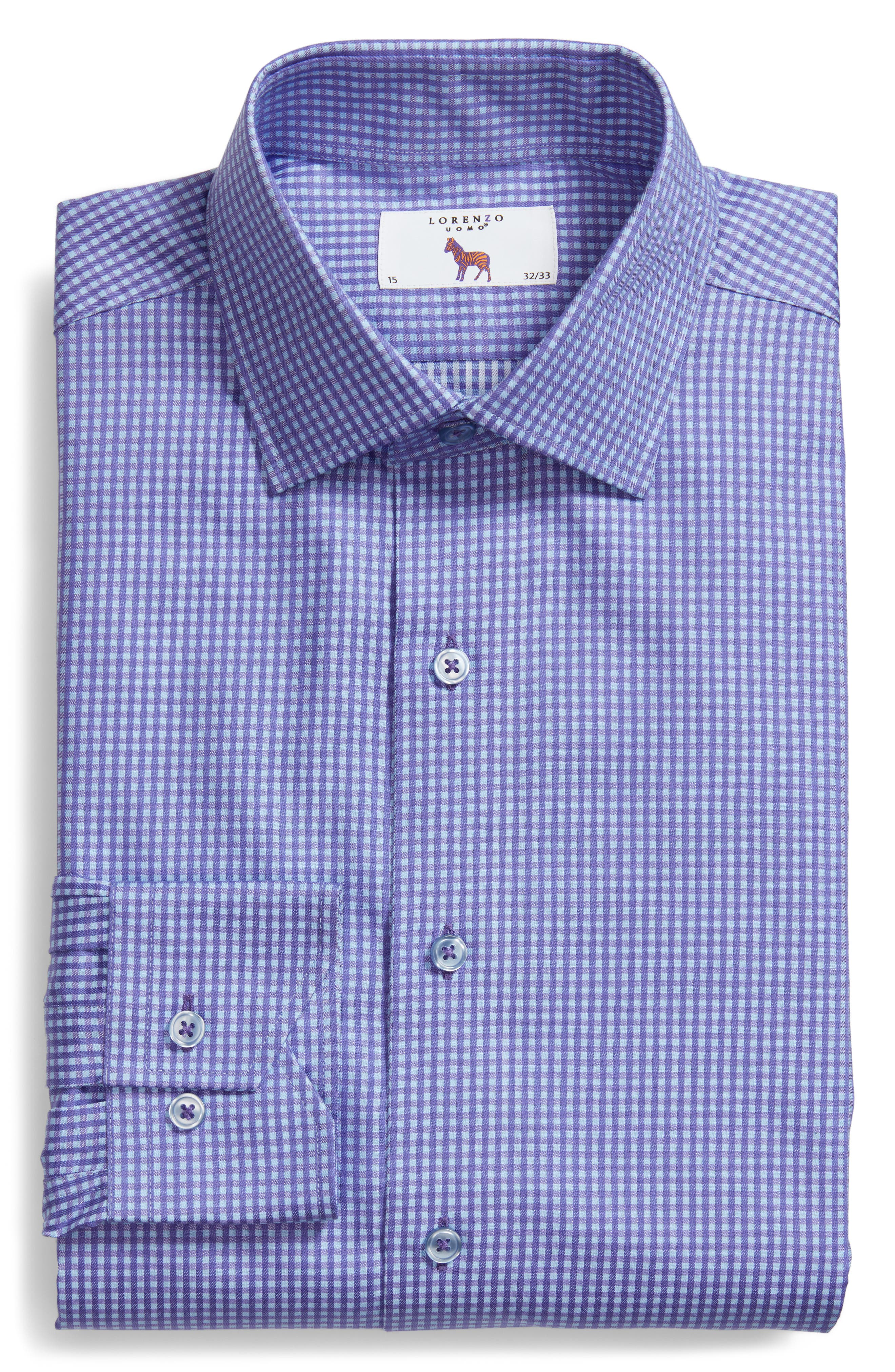 LORENZO UOMO,                             Trim Fit Mini Check Dress Shirt,                             Alternate thumbnail 5, color,                             510