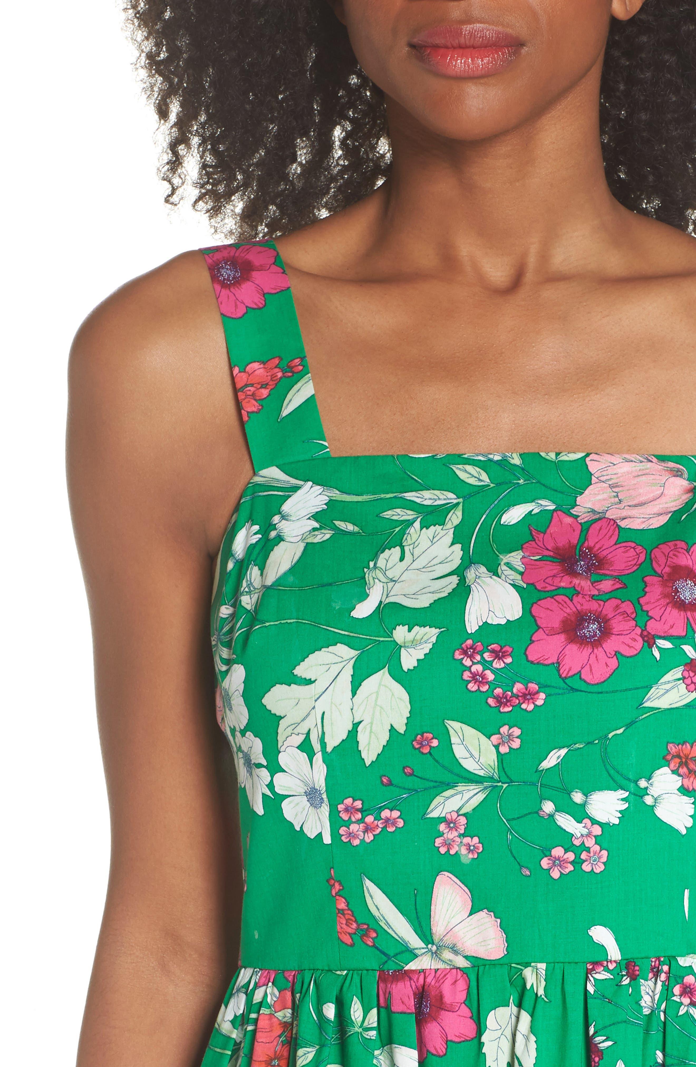 Ruffle Hem Cotton Fit & Flare Sundress,                             Alternate thumbnail 4, color,                             310