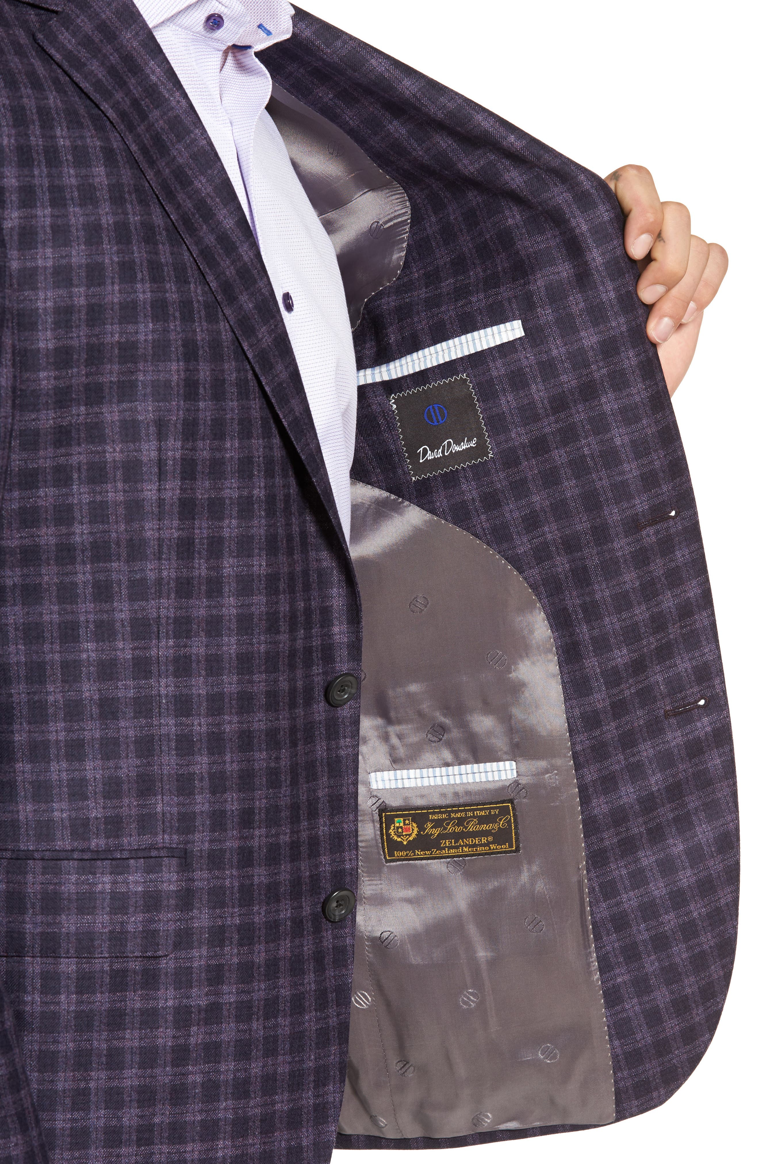 Ashton Classic Fit Check Wool Sport Coat,                             Alternate thumbnail 4, color,                             930