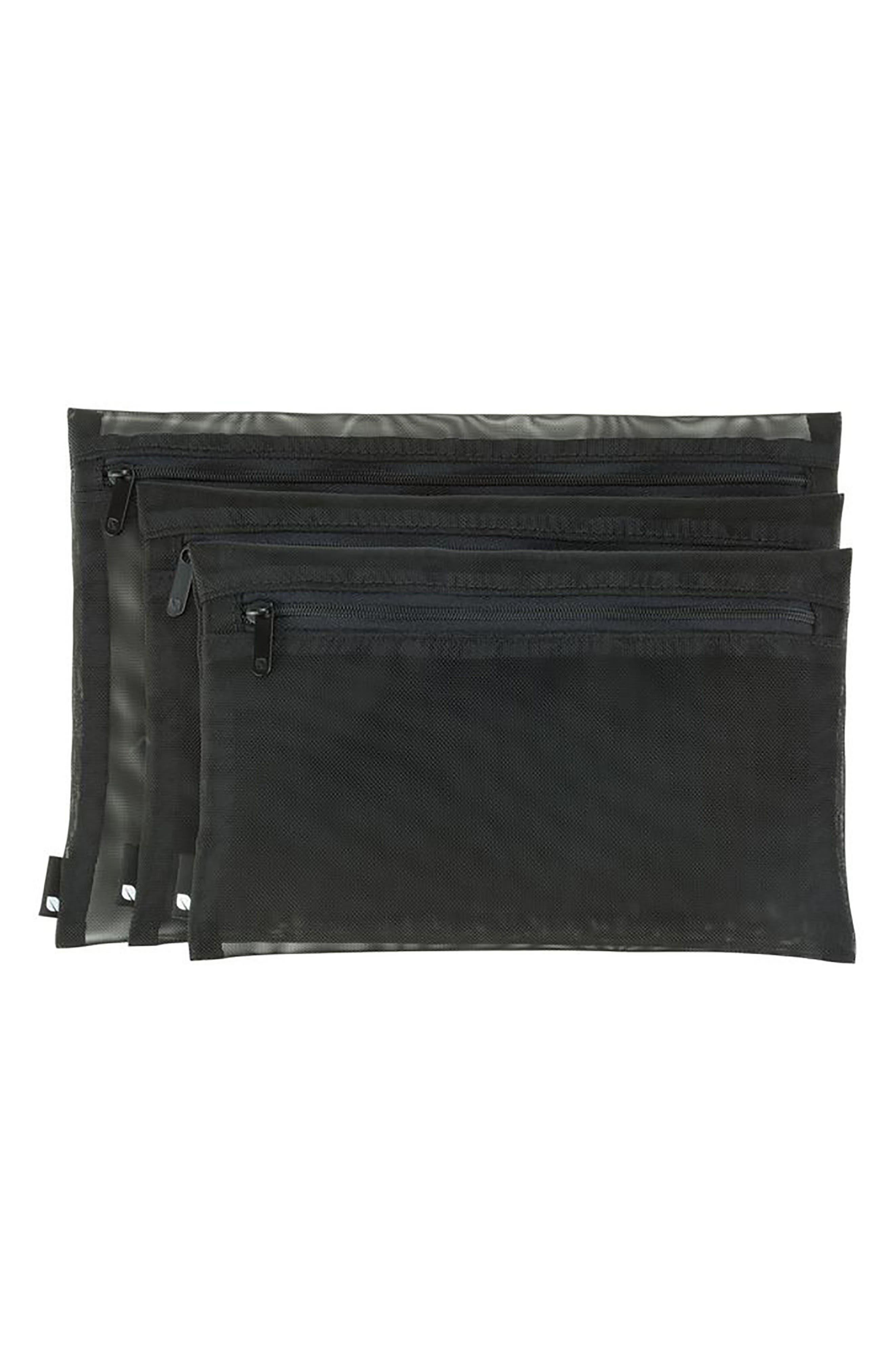3-Pack Zip Pouches,                             Alternate thumbnail 6, color,                             BLACK