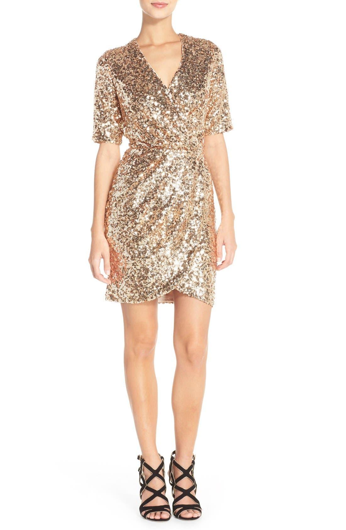 Sequin Mesh Faux Wrap Dress,                             Alternate thumbnail 11, color,