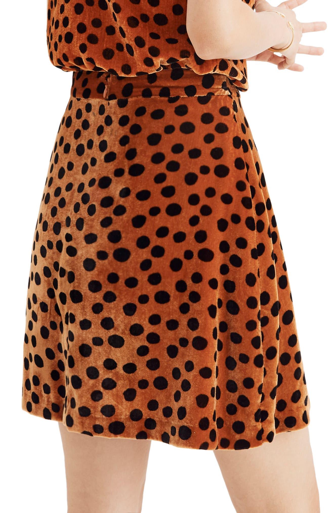 Velvet Circle Miniskirt,                             Alternate thumbnail 2, color,                             LEOPARD DOT BURNT SIENNA