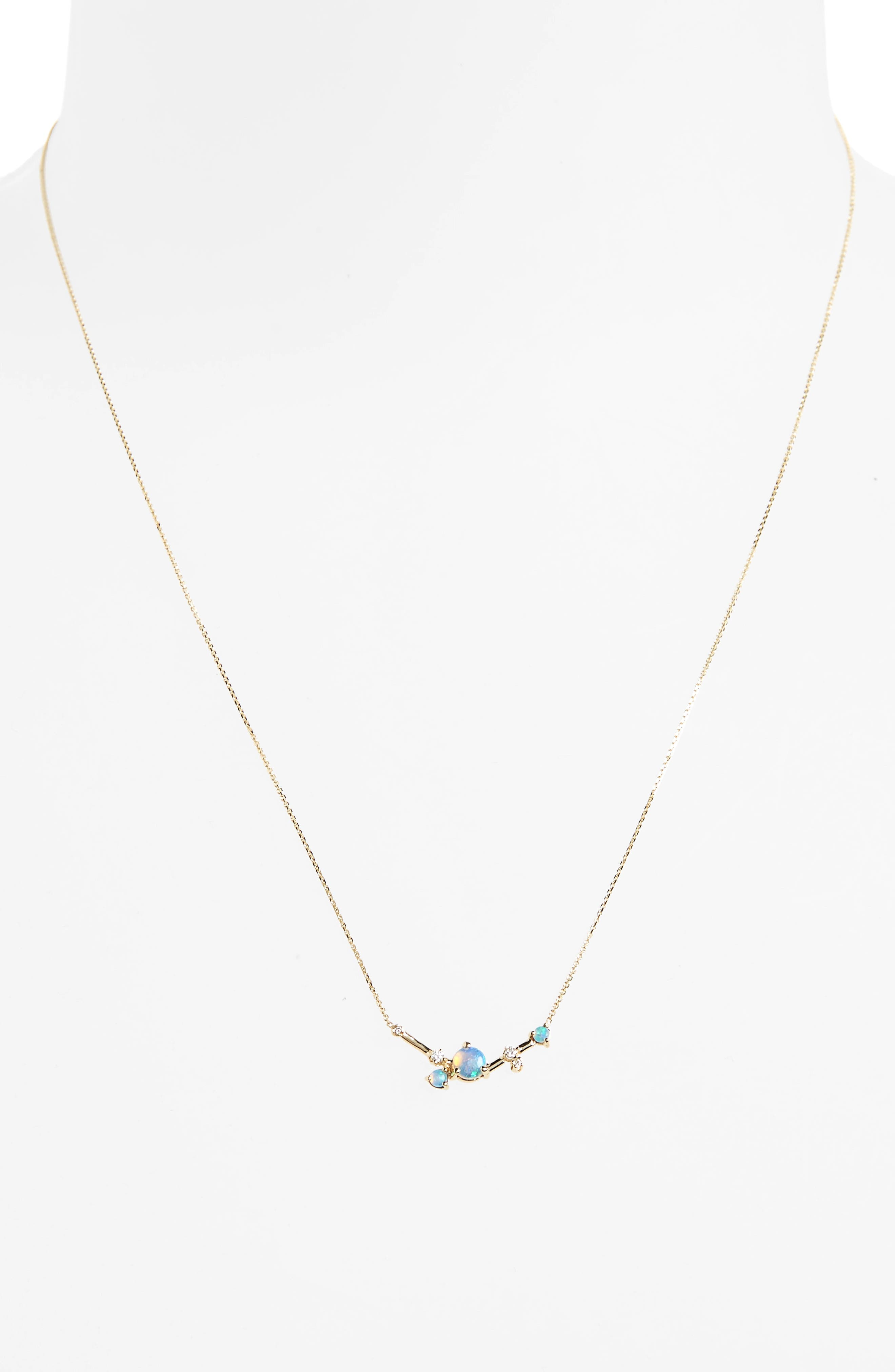 Organic Triangle Opal & Diamond Necklace,                             Alternate thumbnail 2, color,