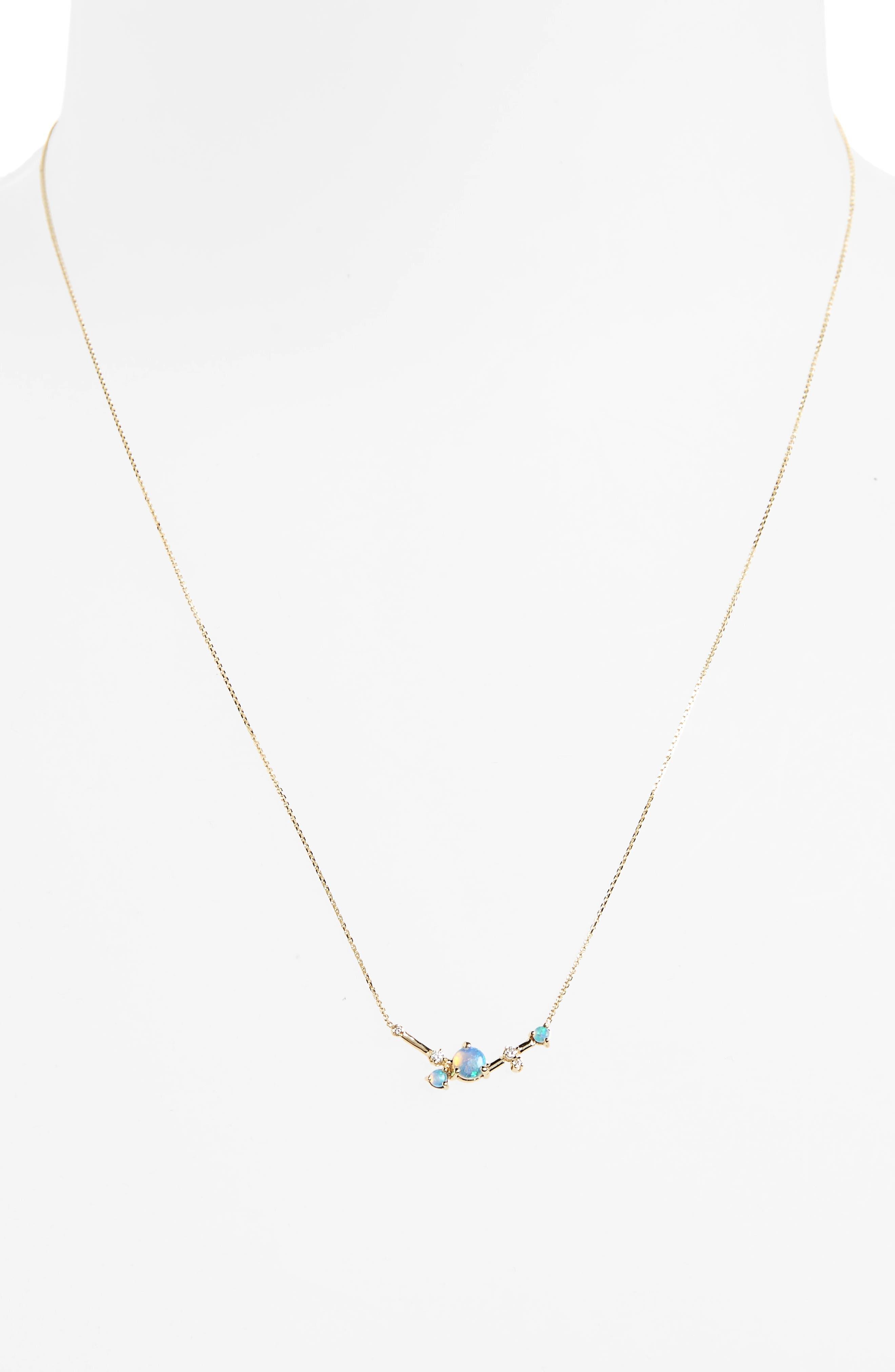 Organic Triangle Opal & Diamond Necklace,                             Alternate thumbnail 2, color,                             WHITE DIAMOND/ GOLD