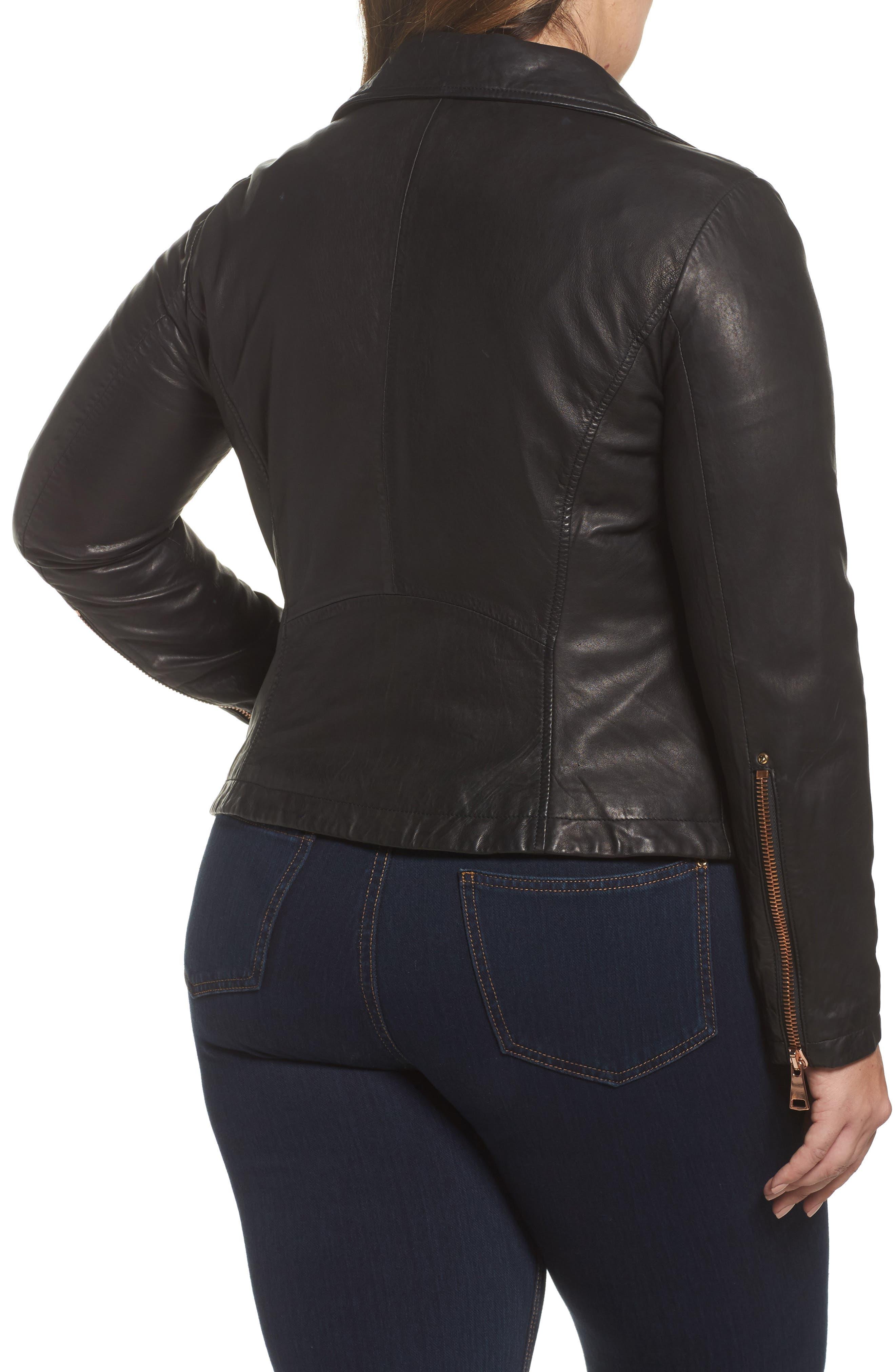 Ebanista Leather Biker Jacket,                             Alternate thumbnail 2, color,                             001