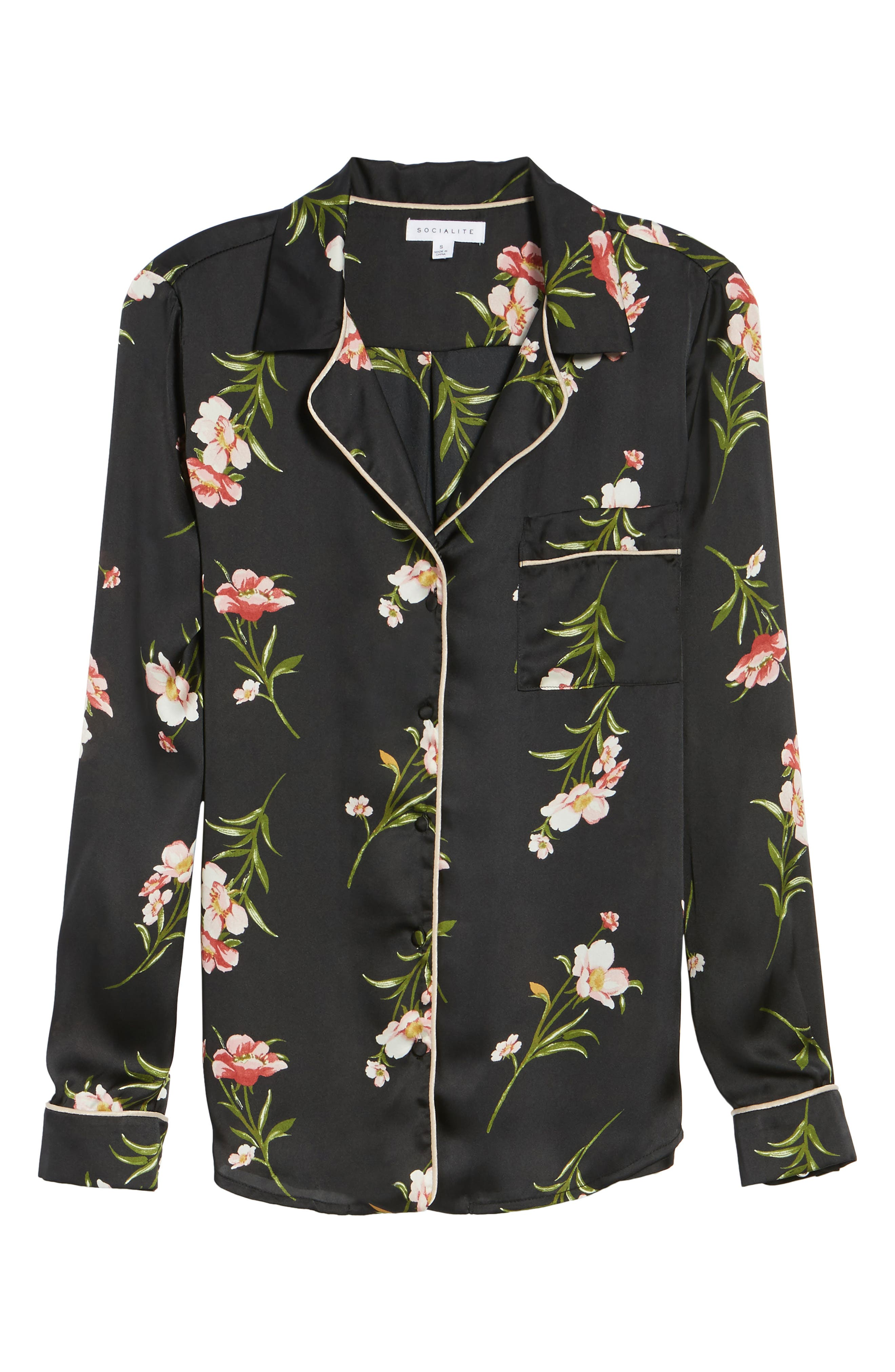Floral PJ Shirt,                             Alternate thumbnail 6, color,                             001