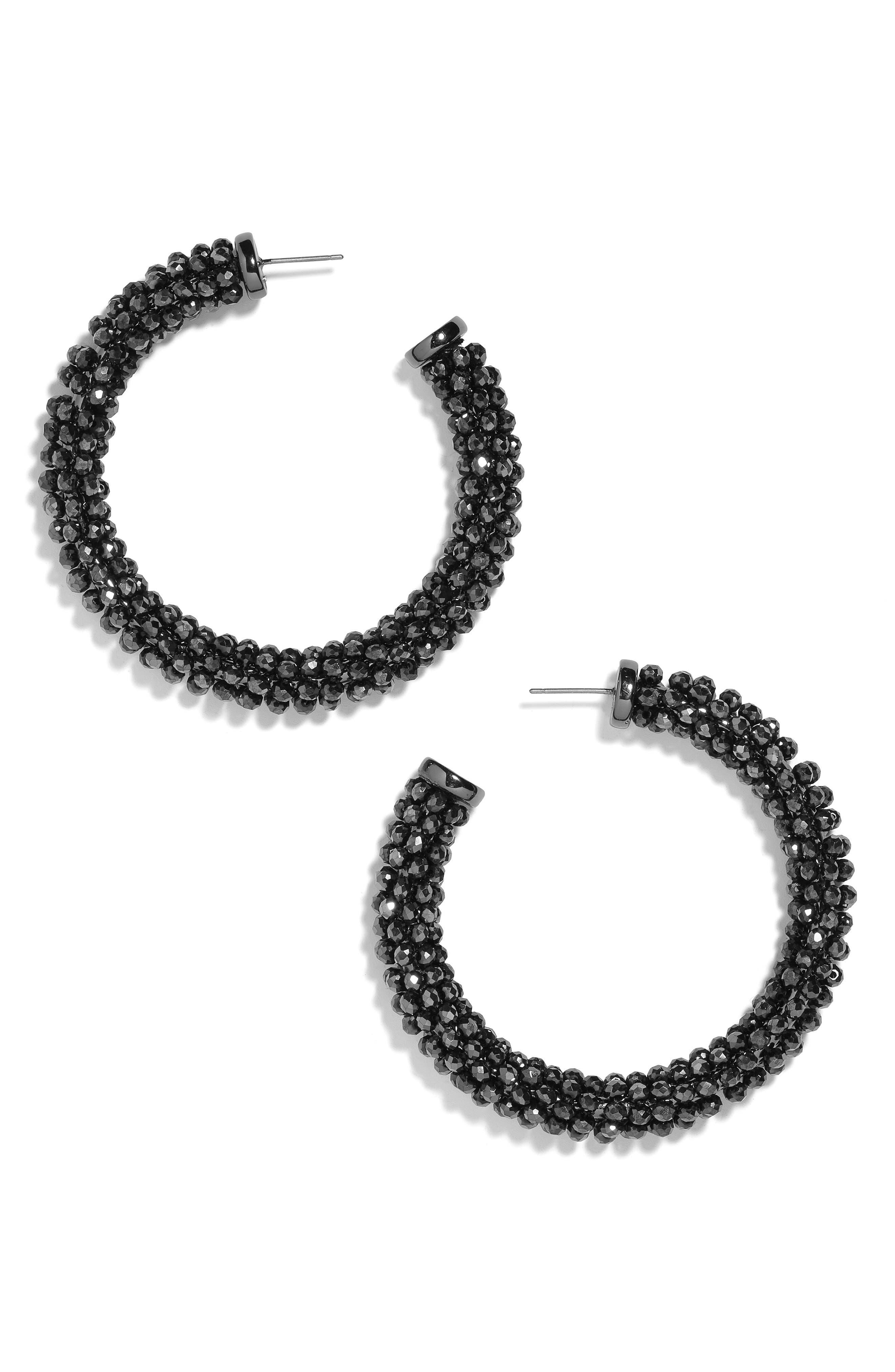 Danasia Faceted Beaded Hoop Earrings,                             Main thumbnail 1, color,                             BLACK