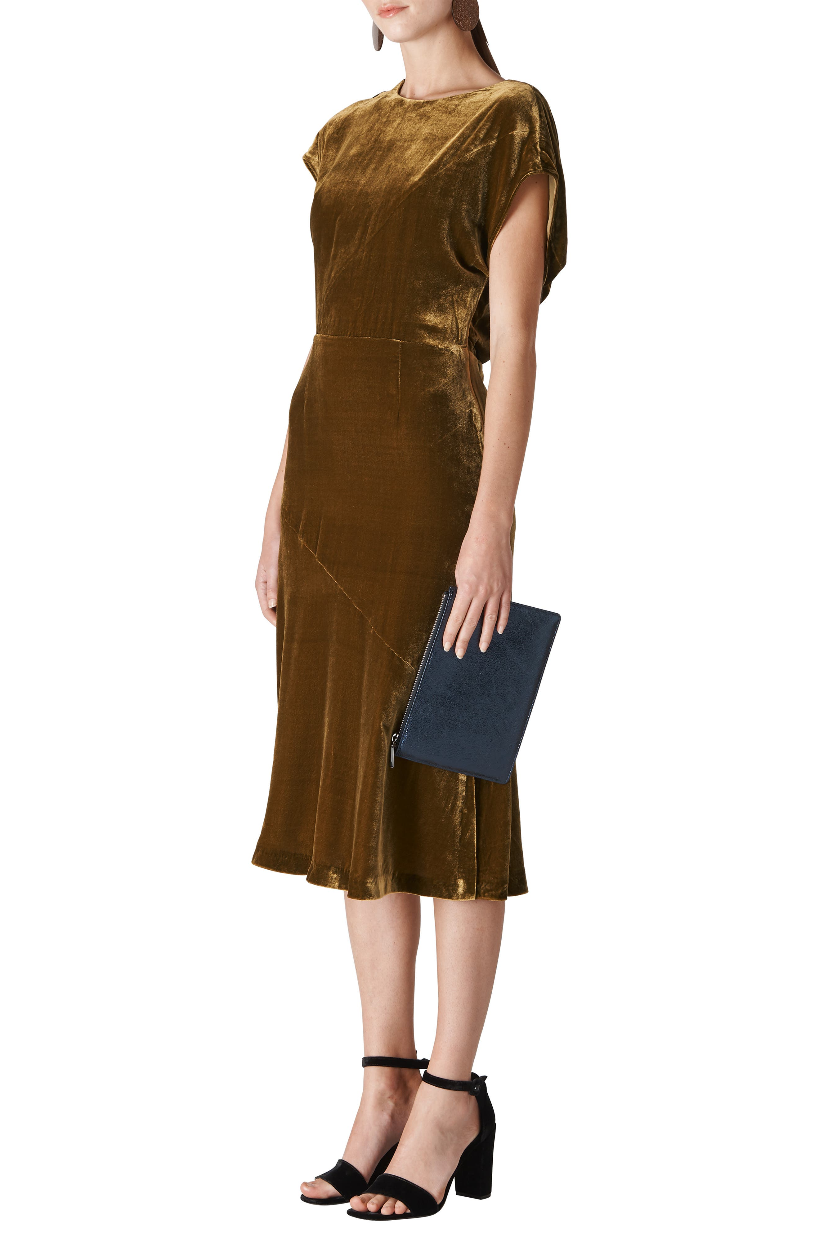 Mina Velvet Midi Dress, Main, color, 710