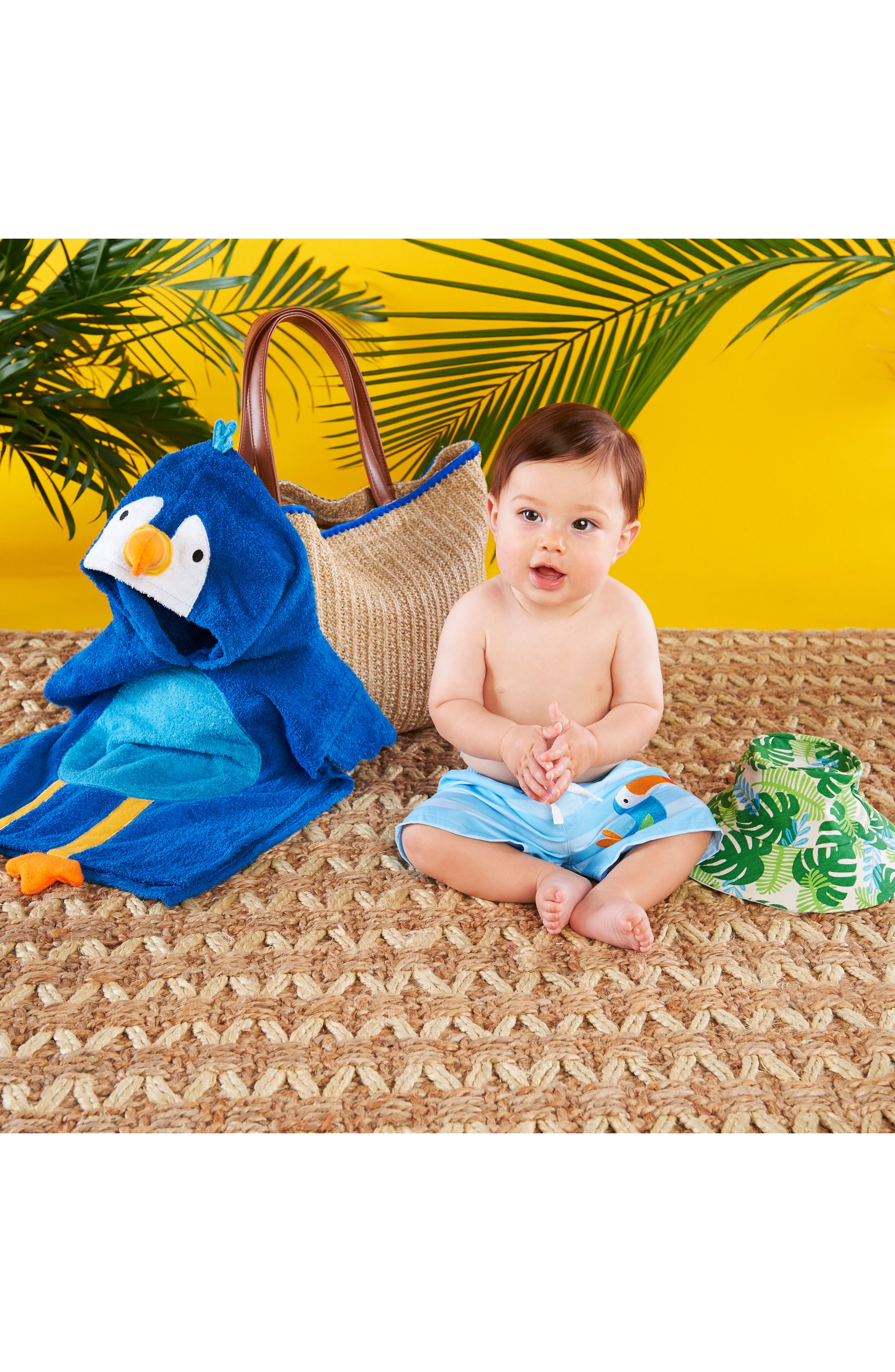 Tropical Hooded Towel, Swimsuit, Sun Hat & Tote Set,                             Alternate thumbnail 5, color,                             BLUE/ GREY/ WHITE/ BROWN
