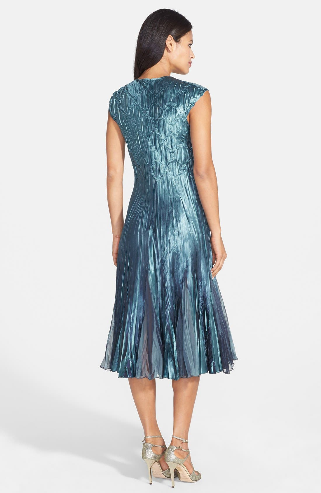 Embellished Pleat Mixed Media Dress with Jacket,                             Alternate thumbnail 8, color,                             SILVER BLUE OMBRE