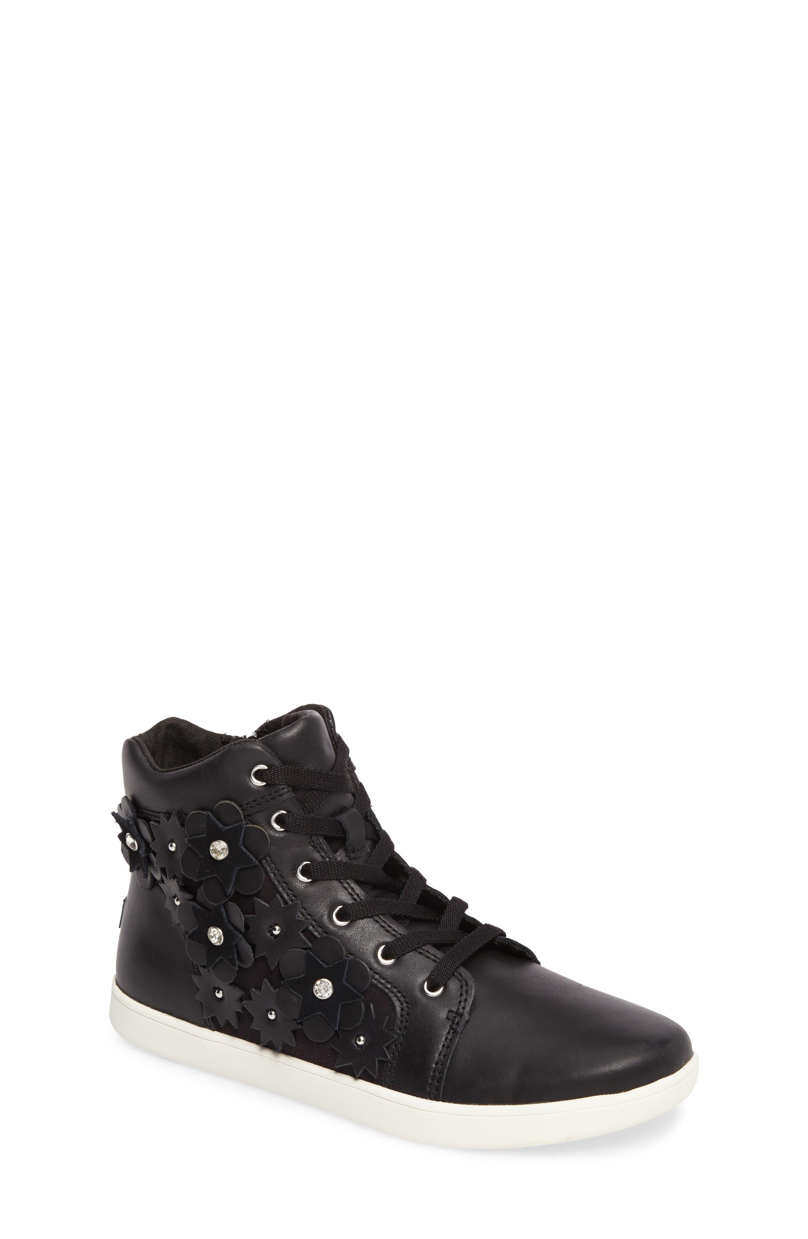 Schyler Petal Embellished High Top Sneaker,                             Main thumbnail 1, color,                             001