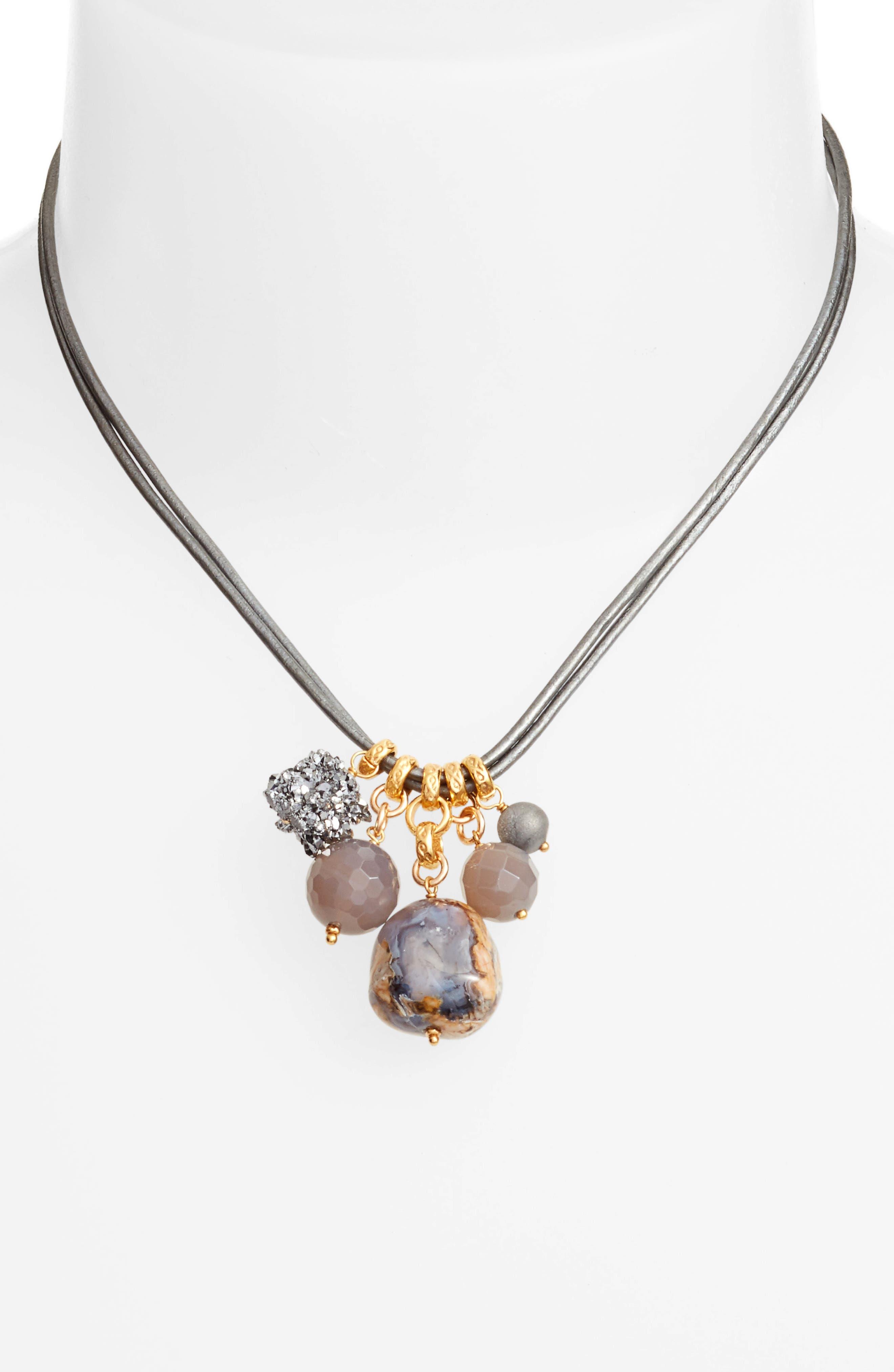 Multistone Short Necklace,                             Alternate thumbnail 2, color,                             020