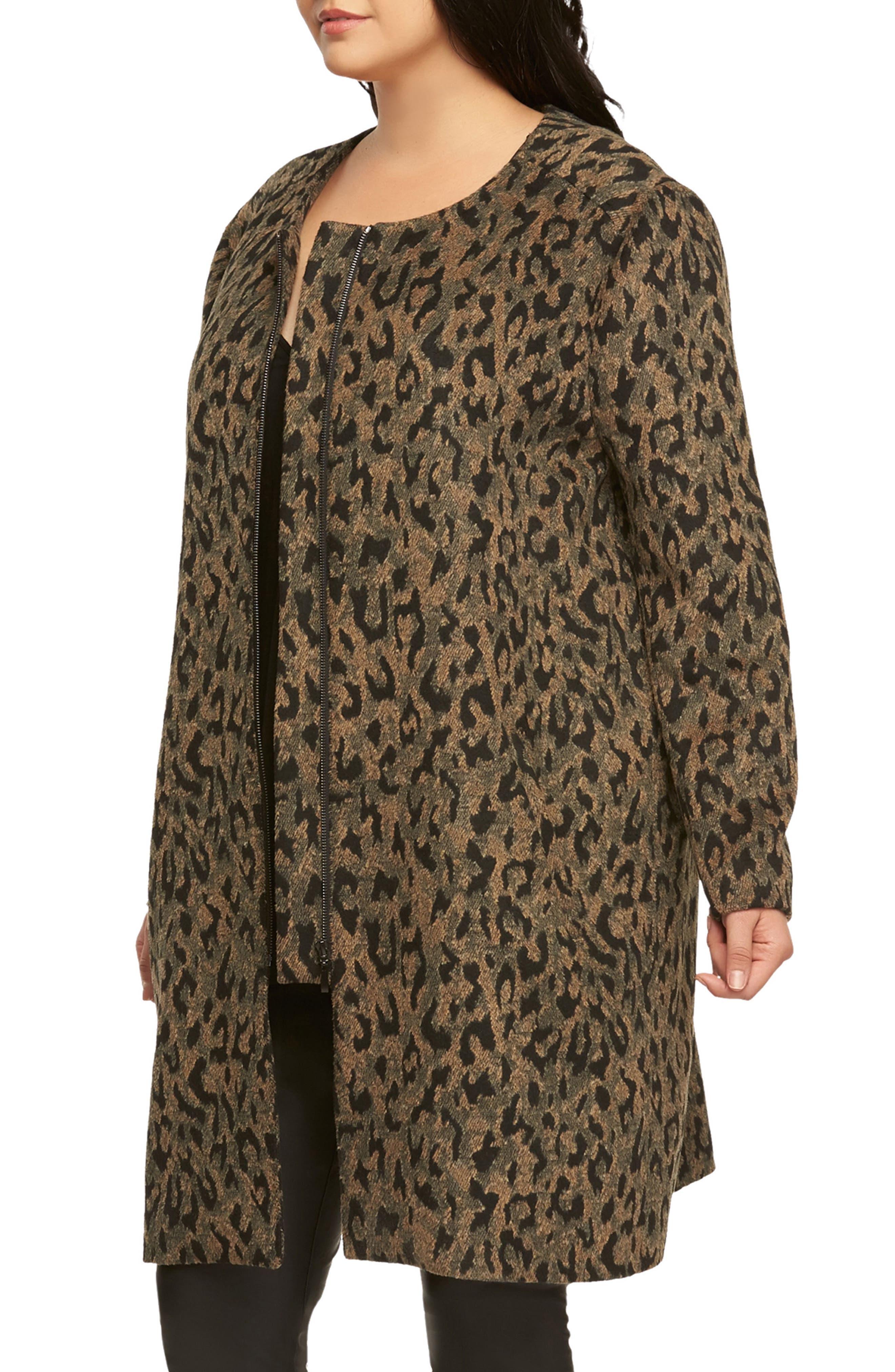 Ashton Leopard Print Coat,                             Alternate thumbnail 3, color,                             208