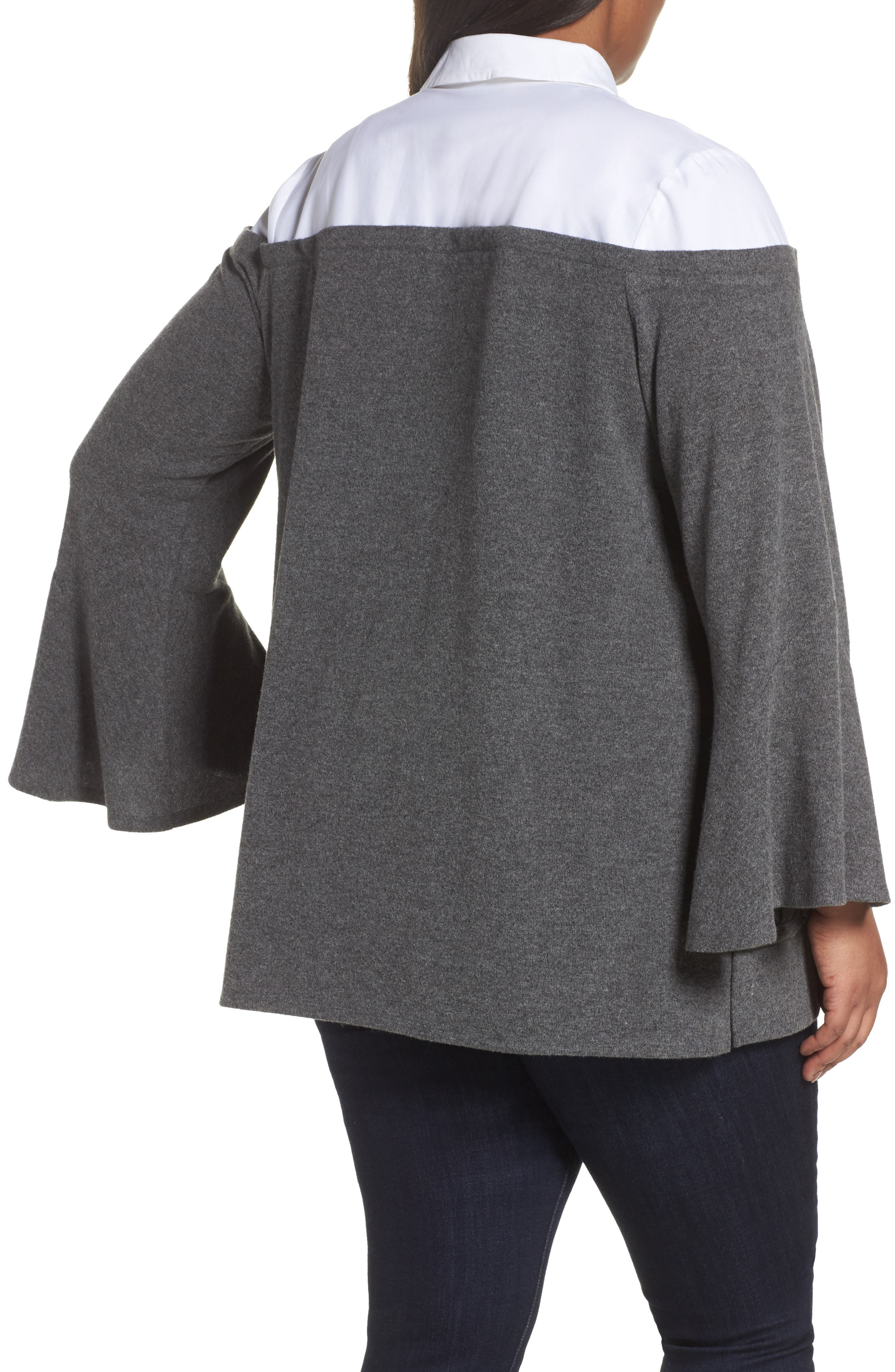 Bell Sleeve Mixed Media Top,                             Alternate thumbnail 5, color,