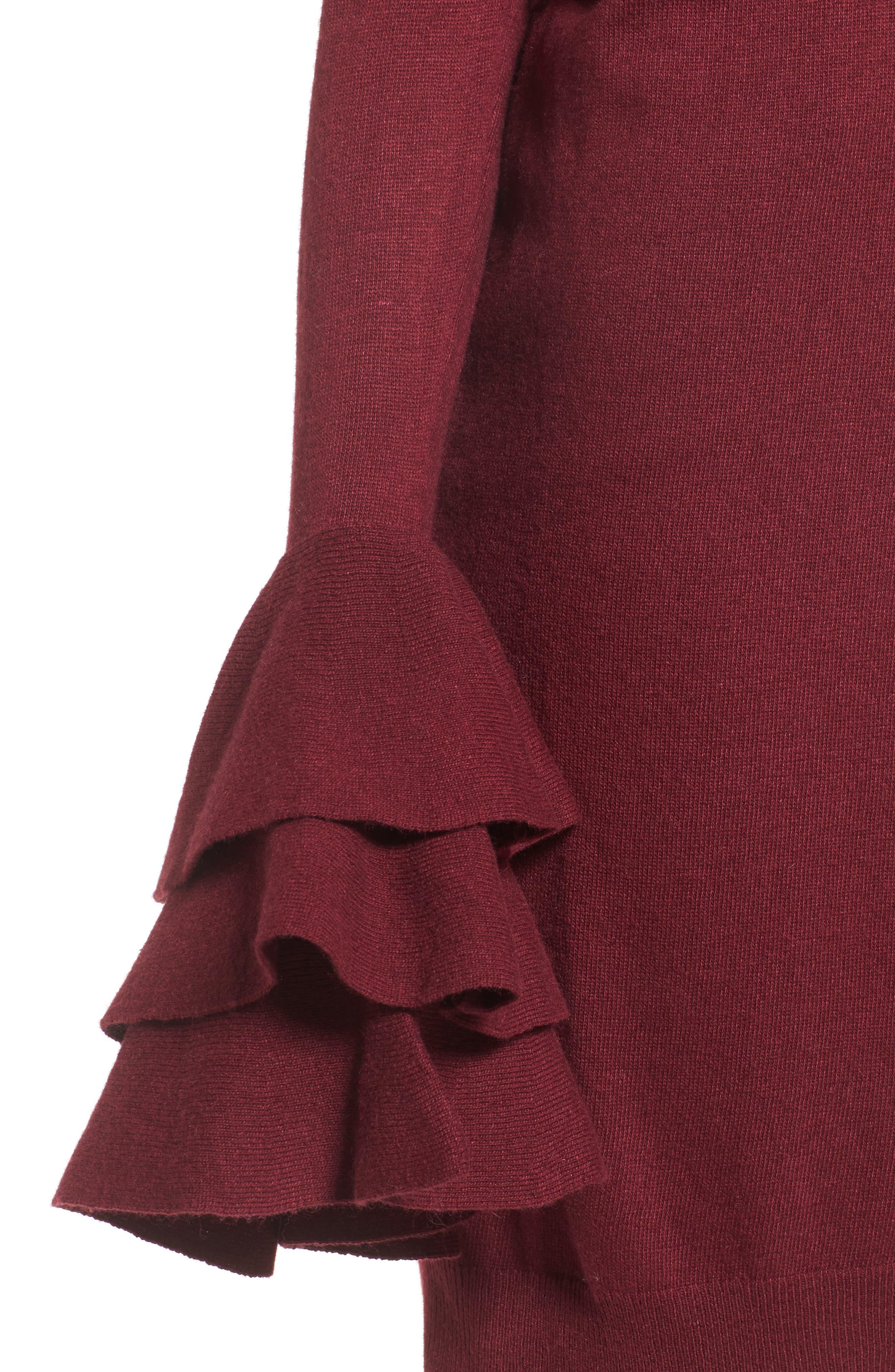Ruffle Sleeve Longline Cardigan,                             Alternate thumbnail 12, color,
