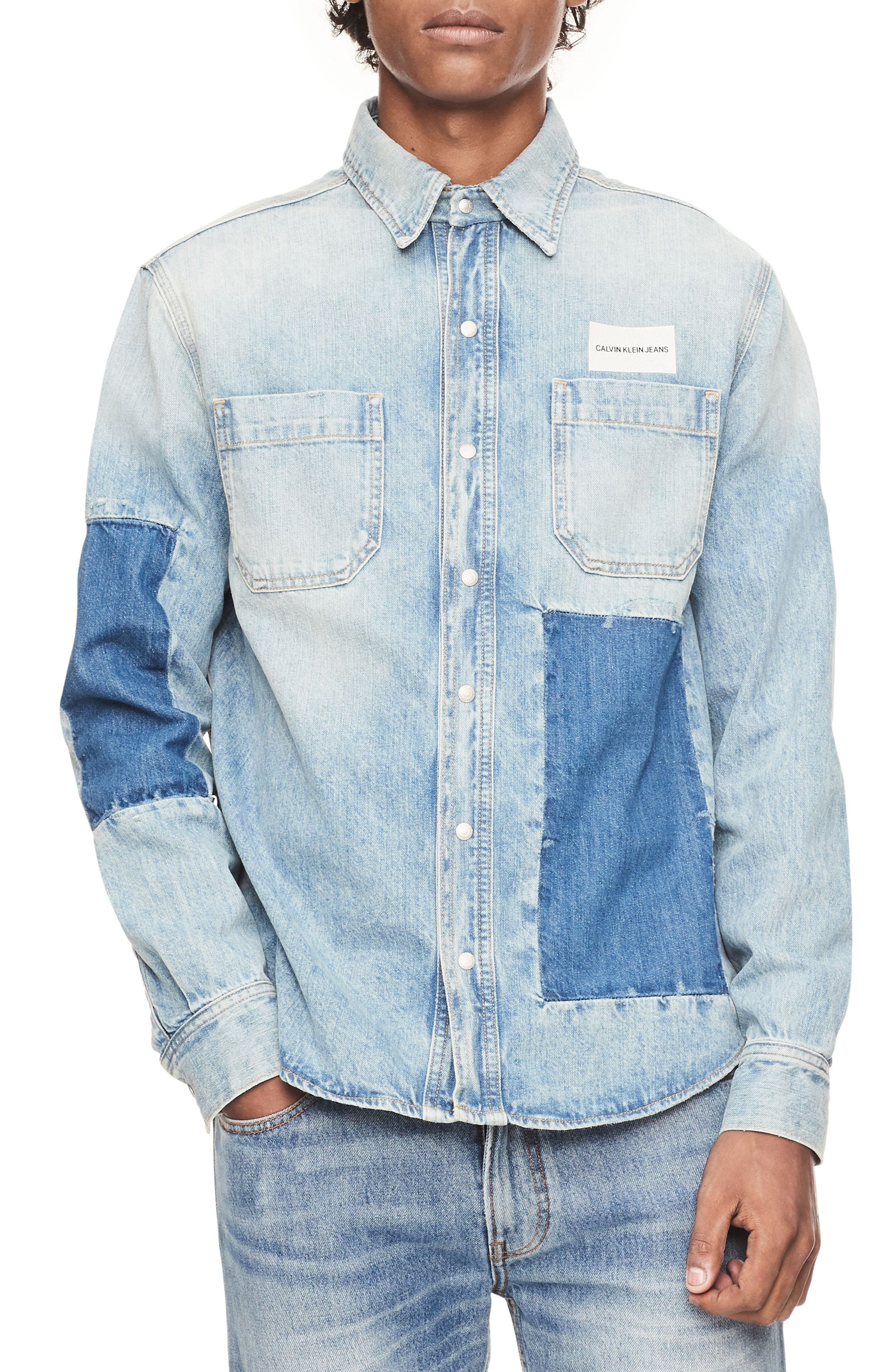 Patched Denim Utility Shirt,                             Main thumbnail 1, color,                             400