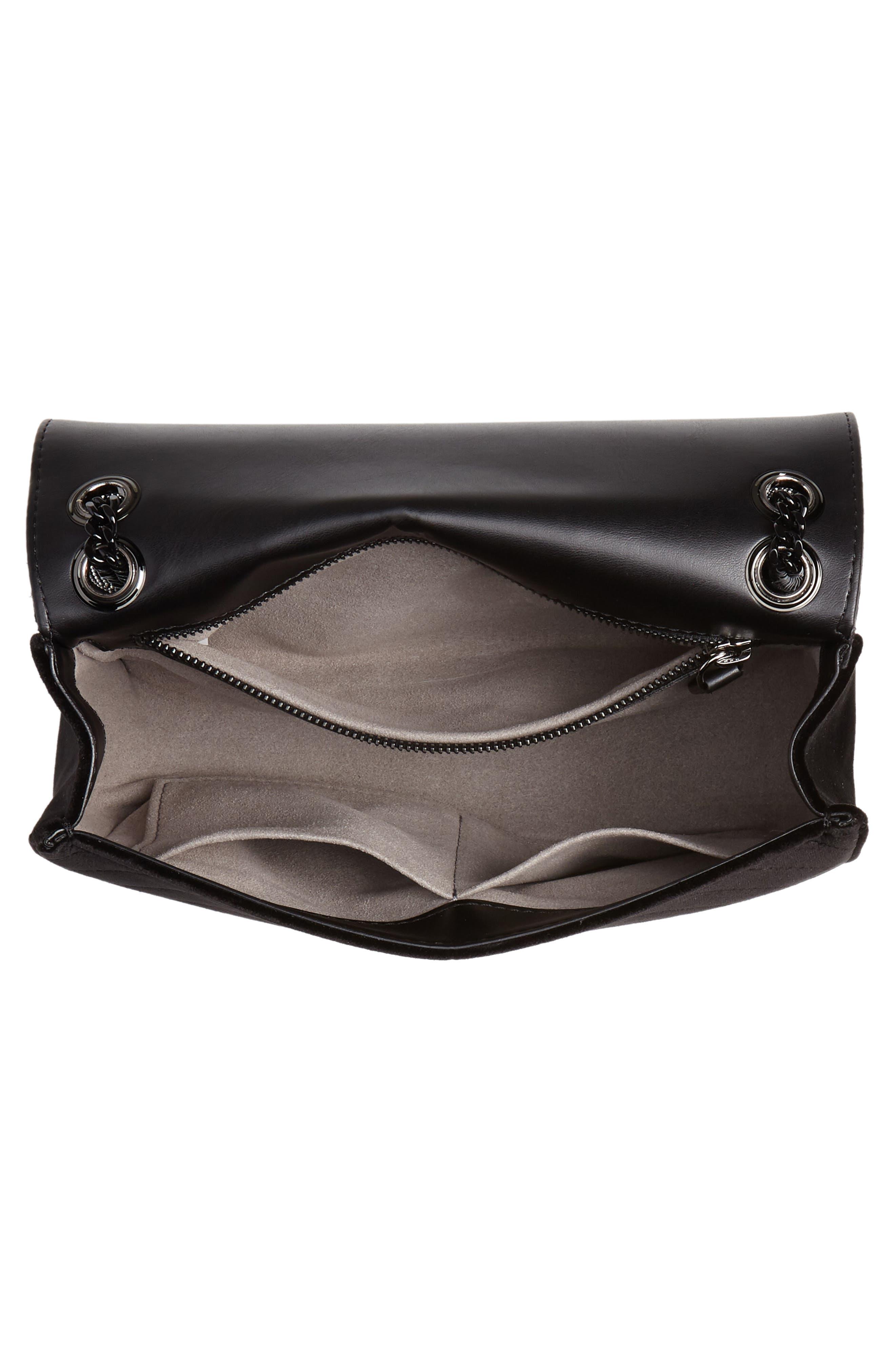 Medium Crystal Star Shoulder Bag,                             Alternate thumbnail 4, color,                             BLACK