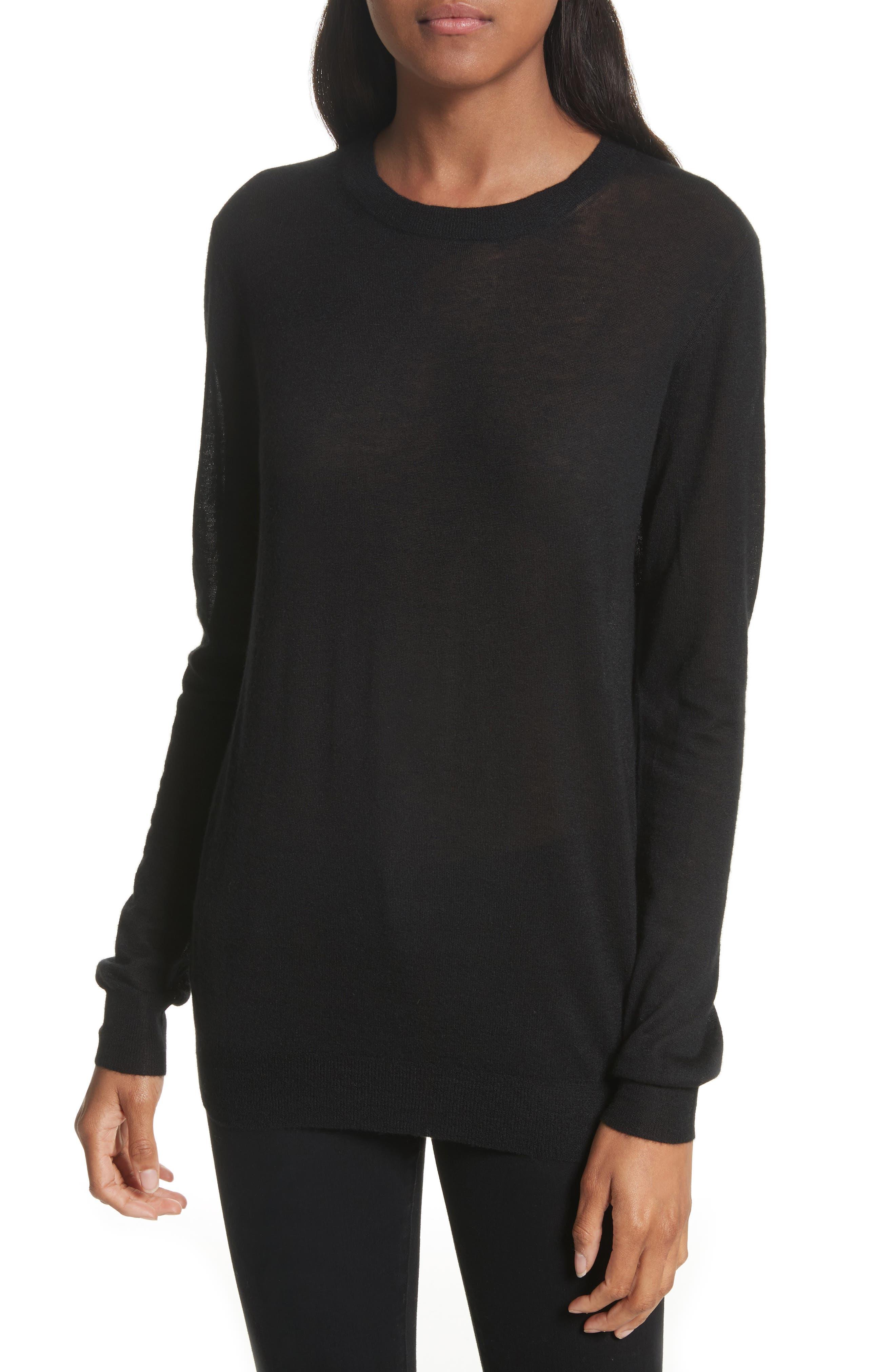 Crewneck Cashmere Sweater,                         Main,                         color, 001