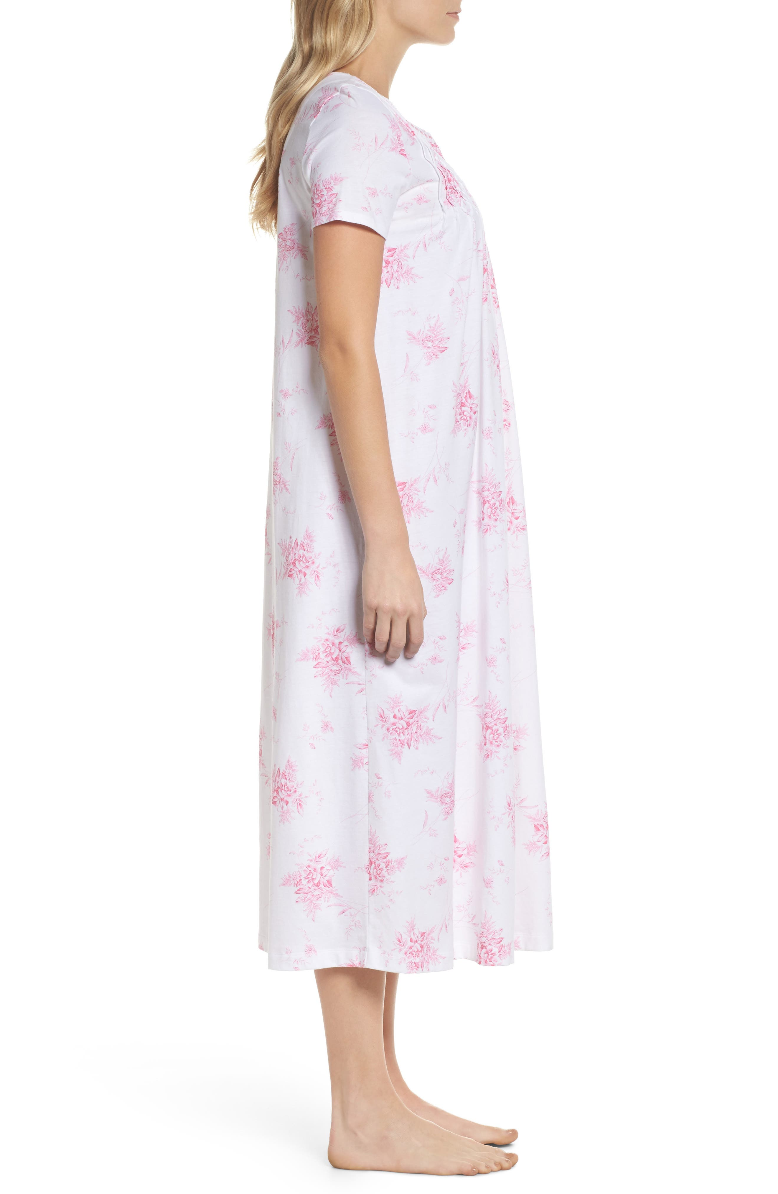 Cotton Jersey Long Nightgown,                             Alternate thumbnail 3, color,                             102