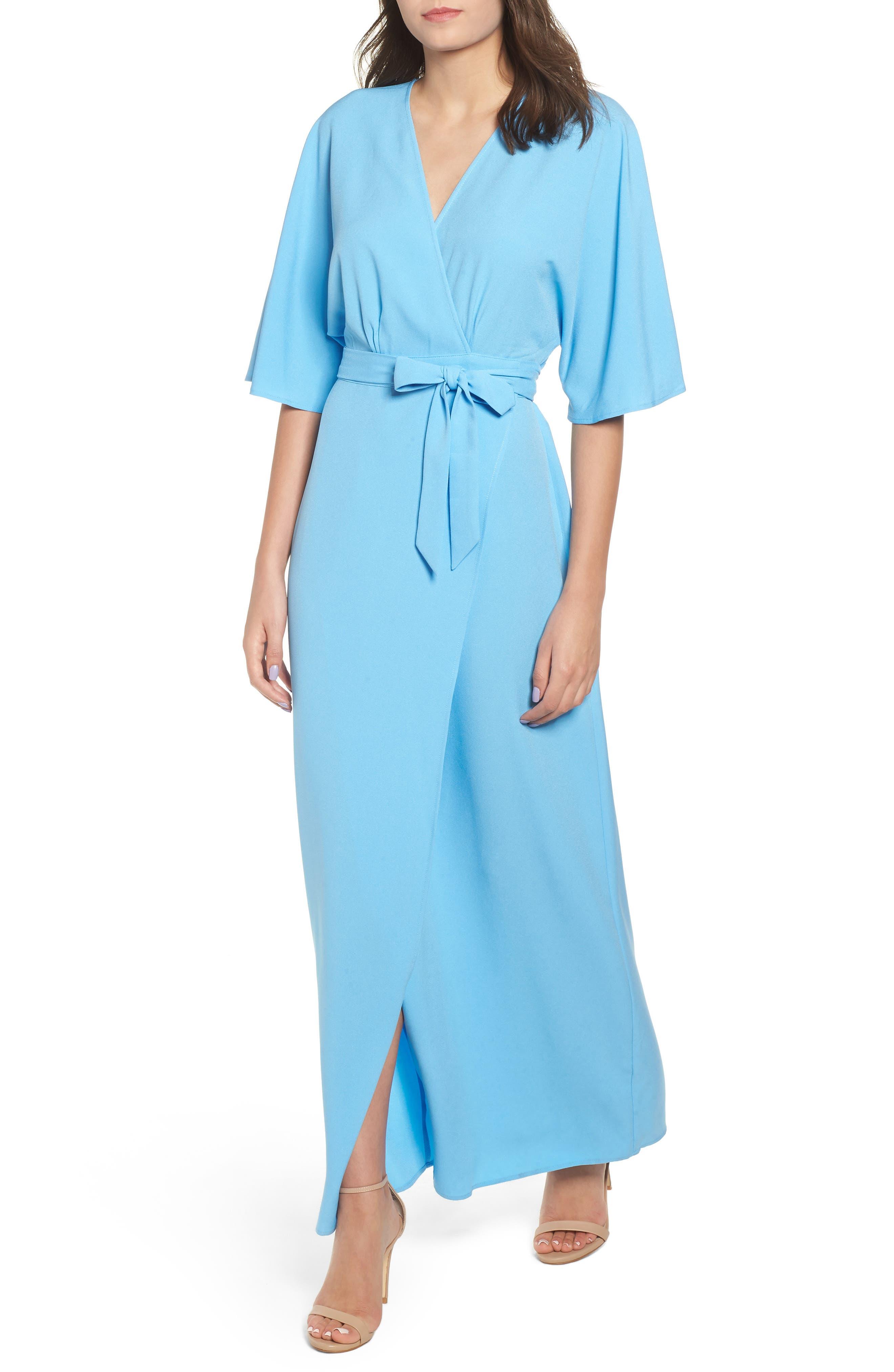Kimono Maxi Dress,                             Main thumbnail 1, color,                             BLUE ALASKAN