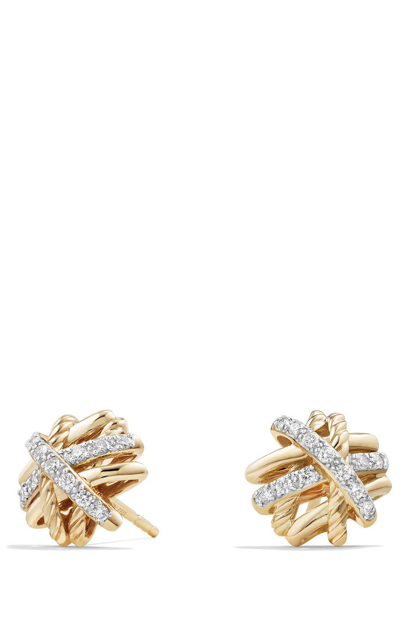 Crossover Stud Earrings with Diamonds in 18k Gold,                             Main thumbnail 1, color,                             YELLOW GOLD/ DIAMOND