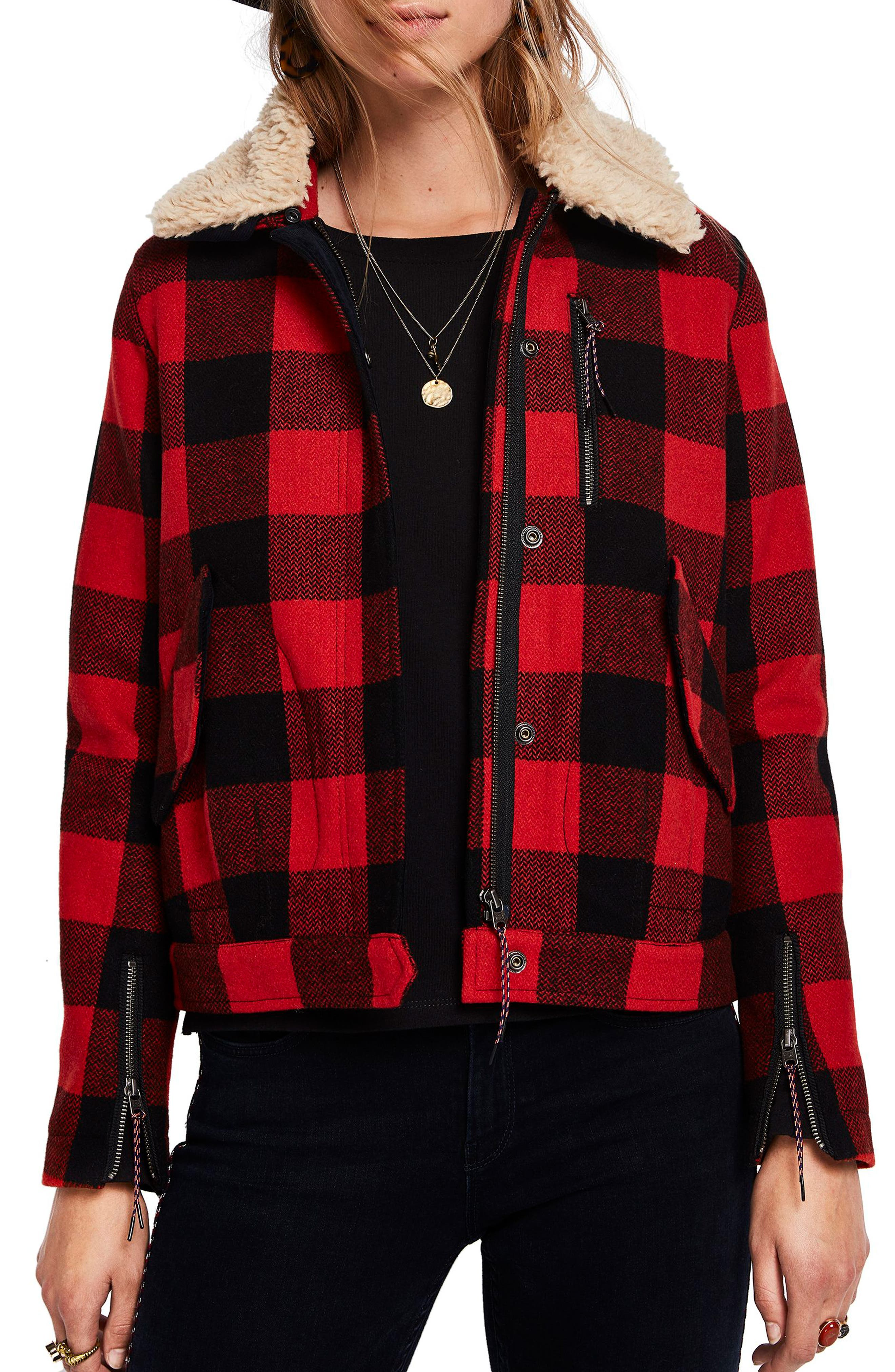 SCOTCH & SODA Plaid Biker Jacket With Detachable Faux Shearling Collar in Combo A