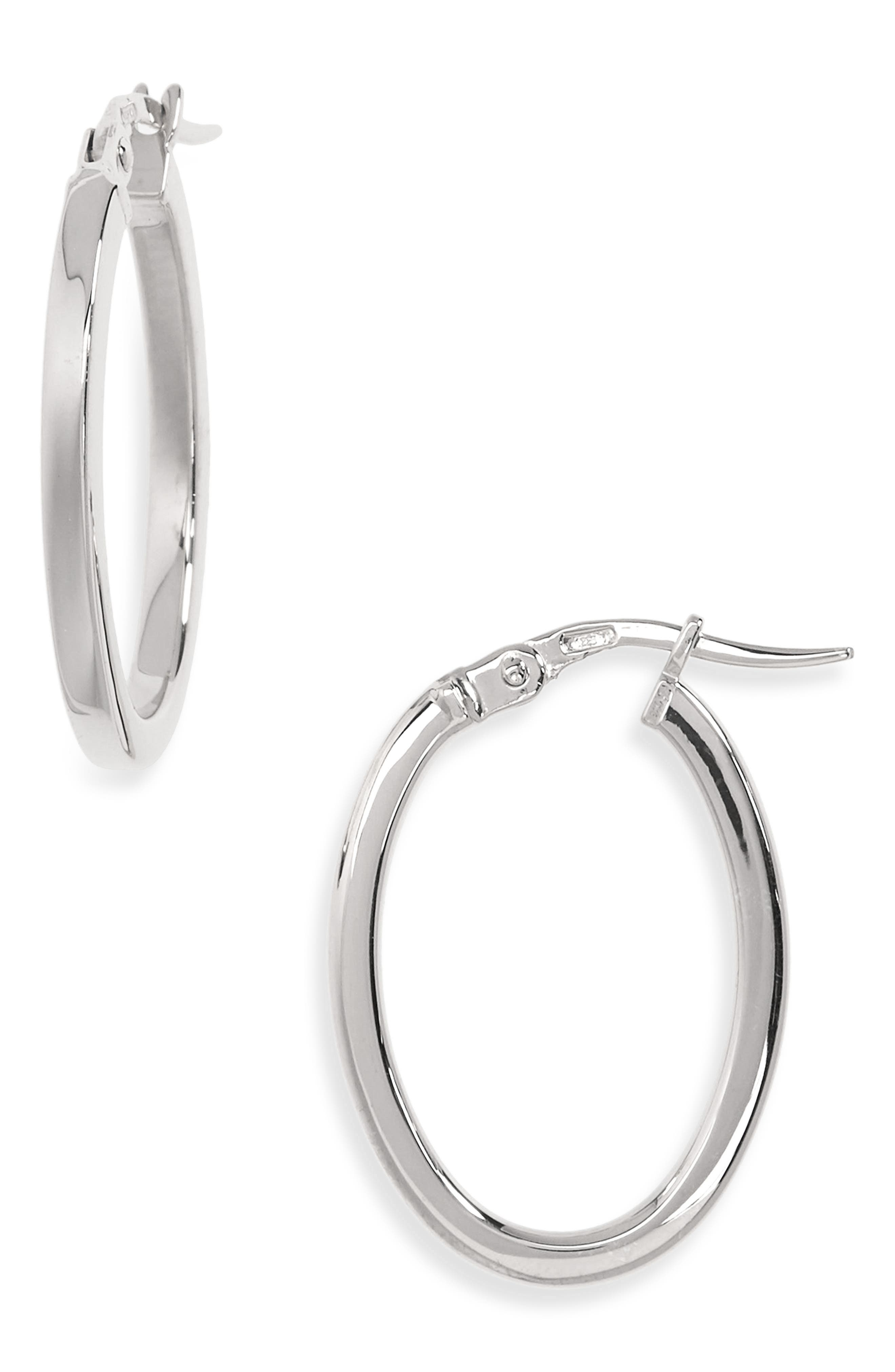 Medium Hoop Earrings,                             Main thumbnail 1, color,                             WHITE GOLD