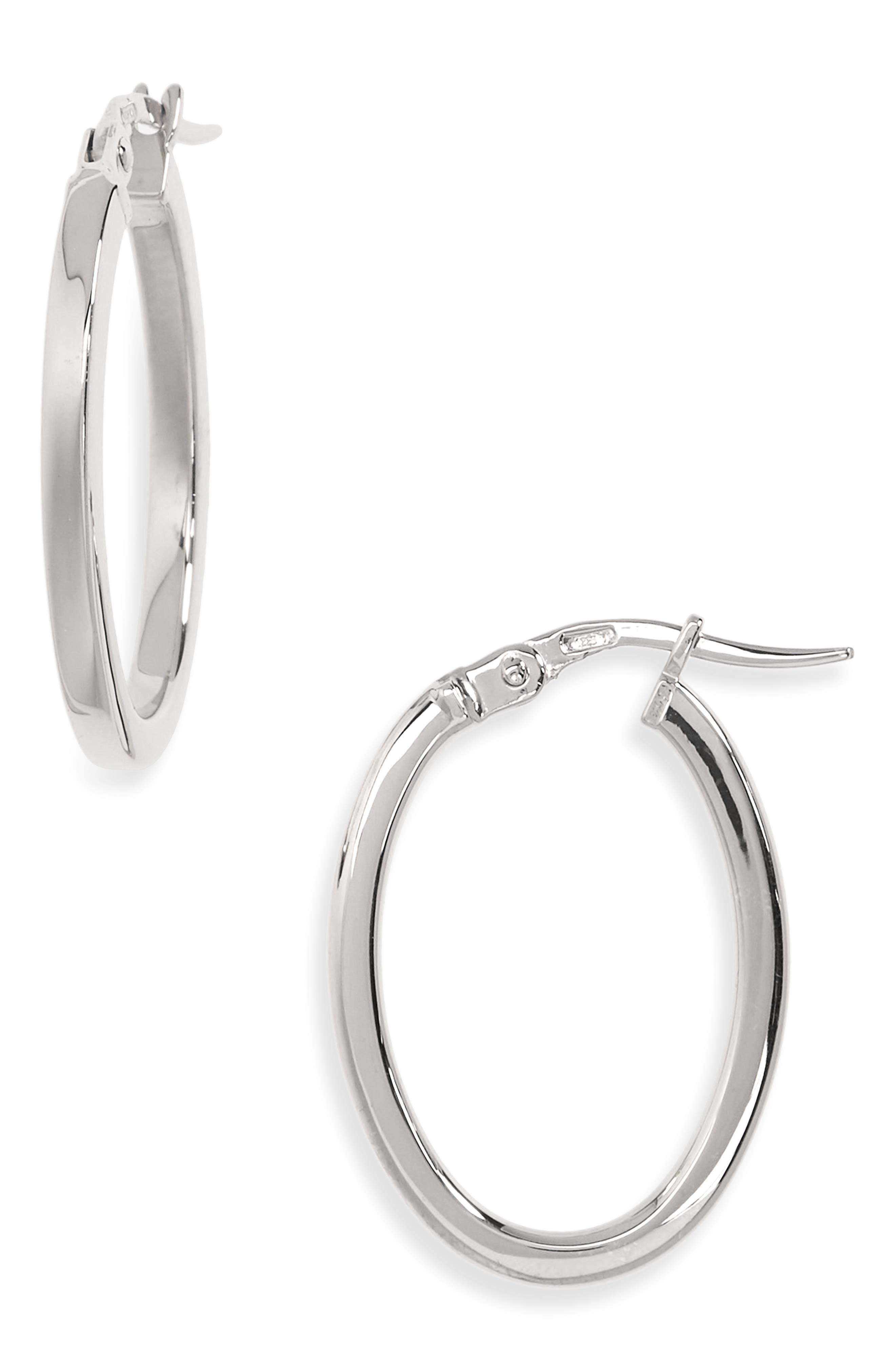 Medium Hoop Earrings,                         Main,                         color, WHITE GOLD