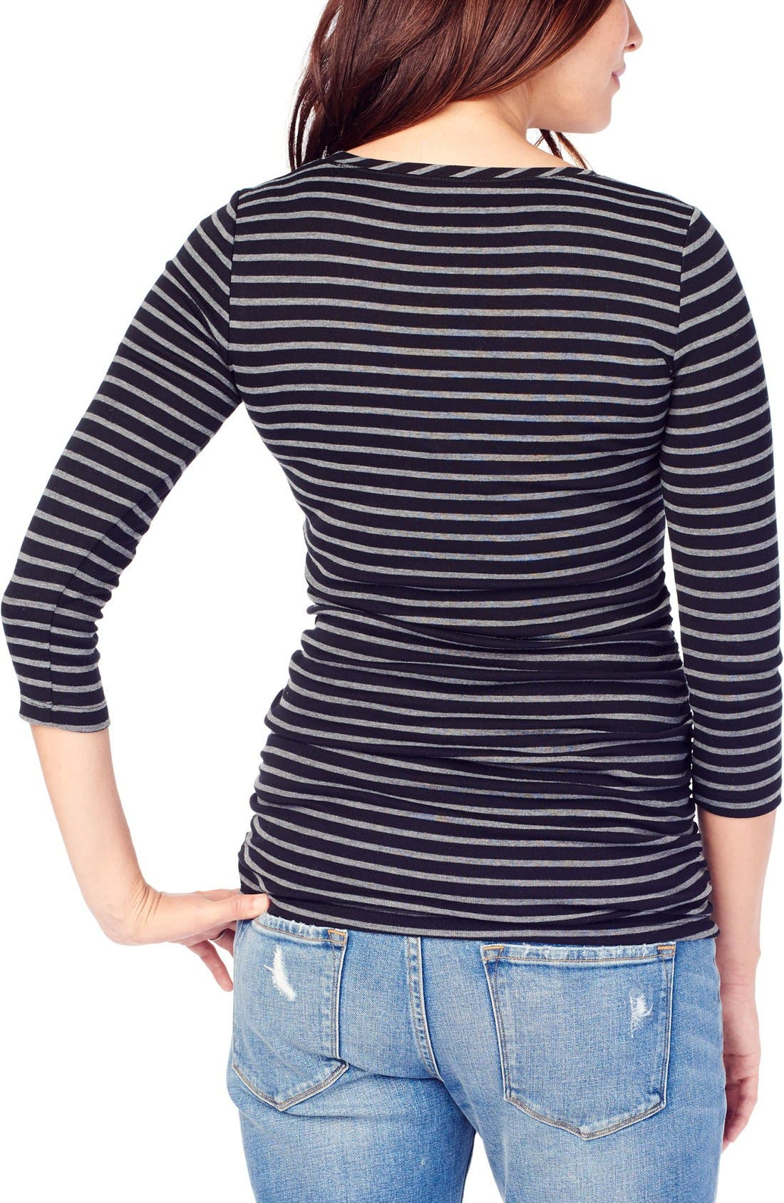 INGRID & ISABEL<SUP>®</SUP>,                             Stripe Ruched Maternity Top,                             Alternate thumbnail 3, color,                             004