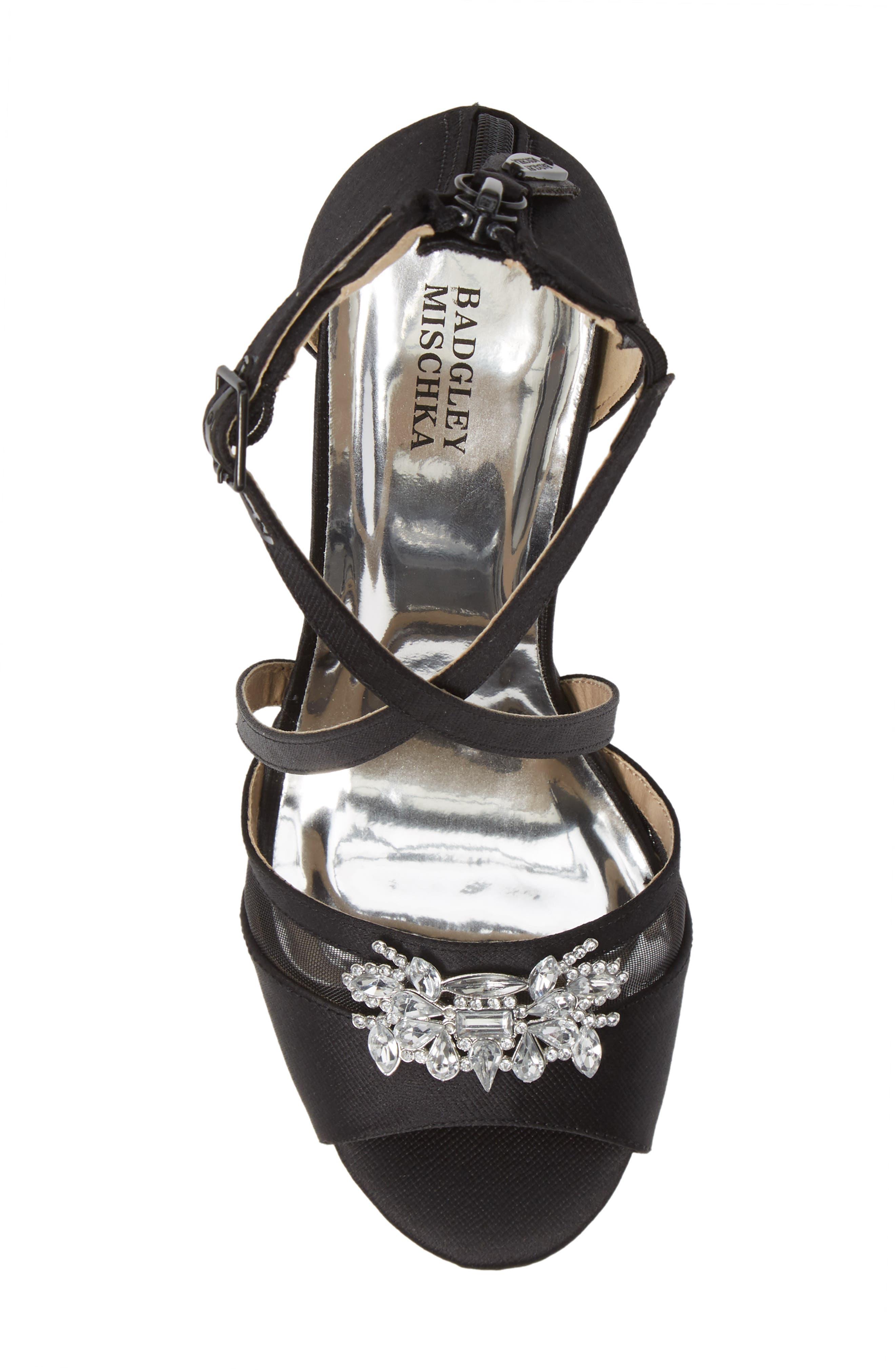 Badgley Mischka Kandall Hannah Embellished Cross Strap Sandal,                             Alternate thumbnail 5, color,                             BLACK SATIN