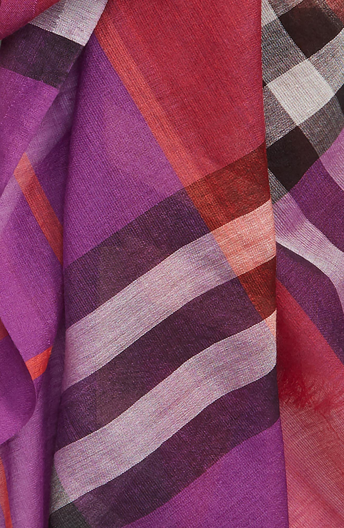 BURBERRY,                             Rainbow Giant Check Wool & Silk Scarf,                             Alternate thumbnail 4, color,                             BRIGHT PLUM