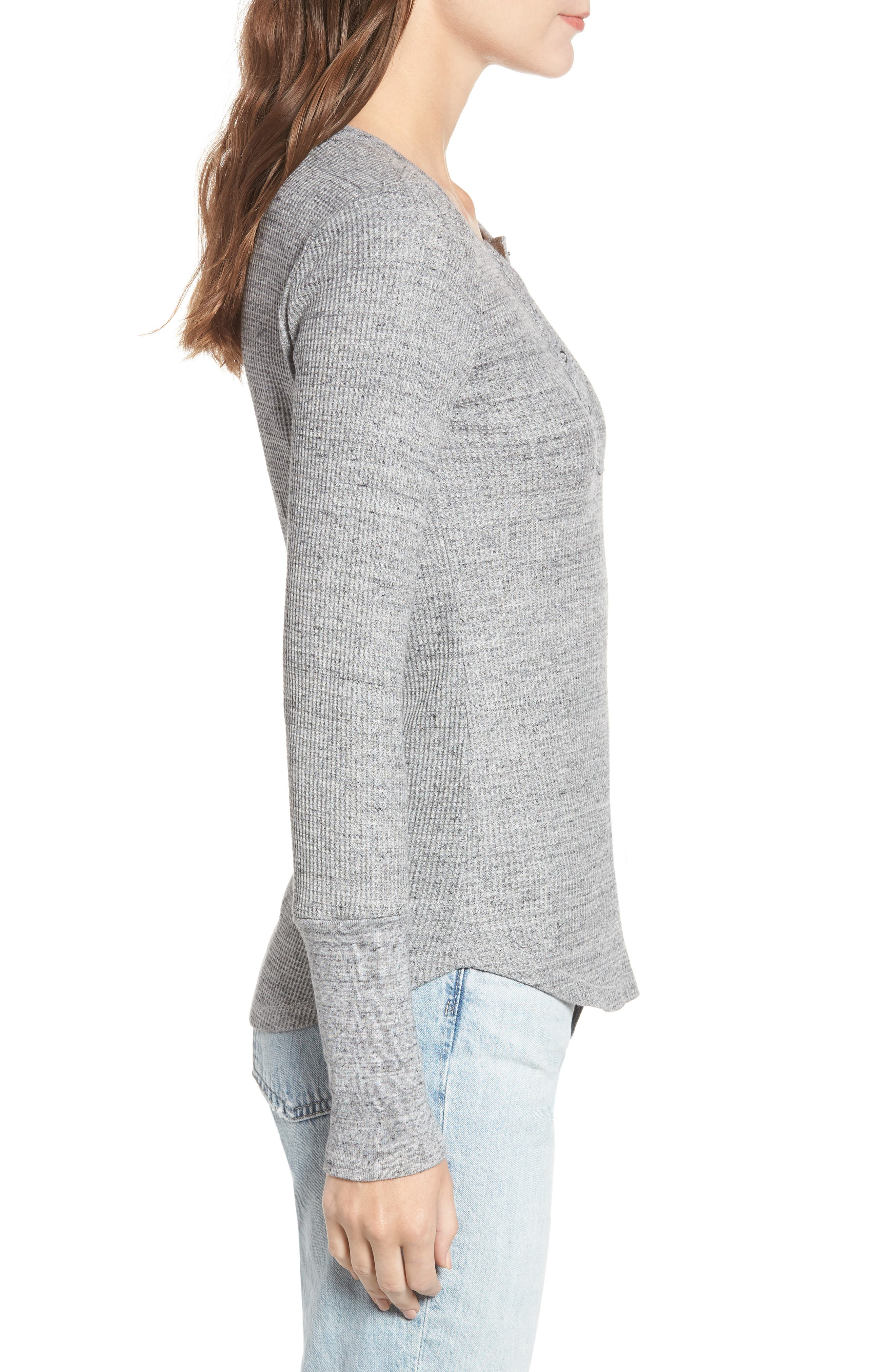 Thermal Henley Tee,                             Alternate thumbnail 3, color,                             HEATHER GREY