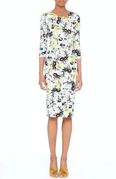 Floral Jersey Sheath Dress, video thumbnail