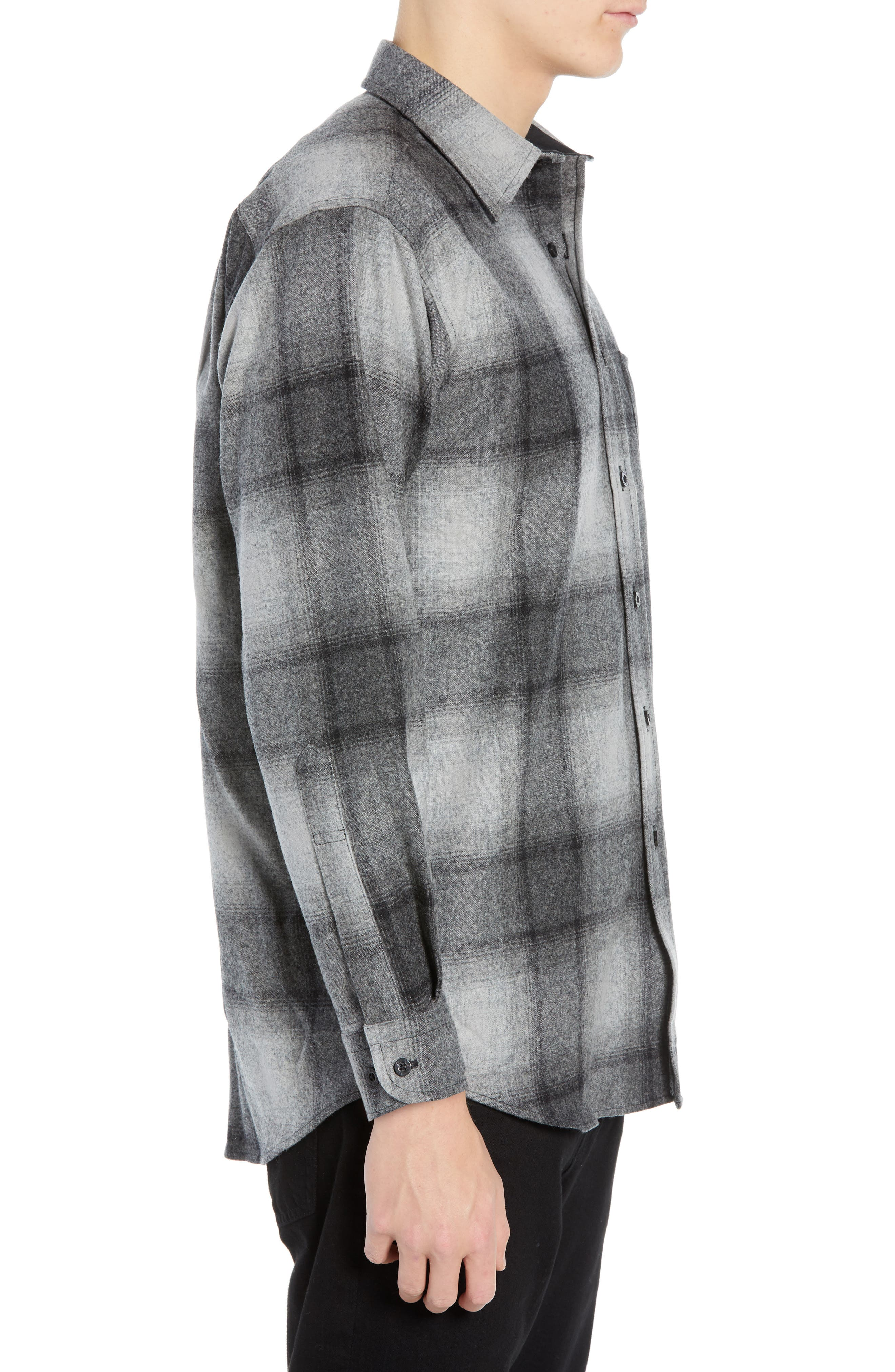 Lodge Wool Flannel Shirt,                             Alternate thumbnail 4, color,                             BLACK/ GREY MIX OMBRE
