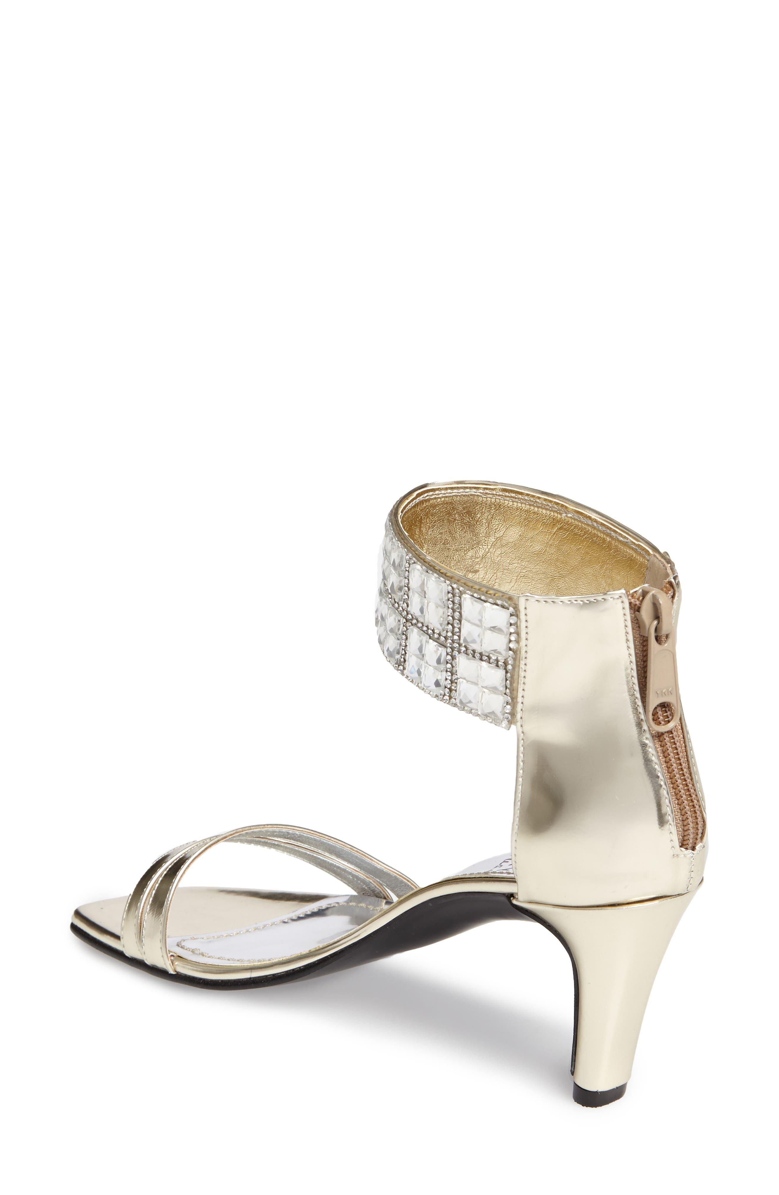 Scarlett Crystal Embellished Evening Sandal,                             Alternate thumbnail 3, color,                             PLATINUM FAUX LEATHER