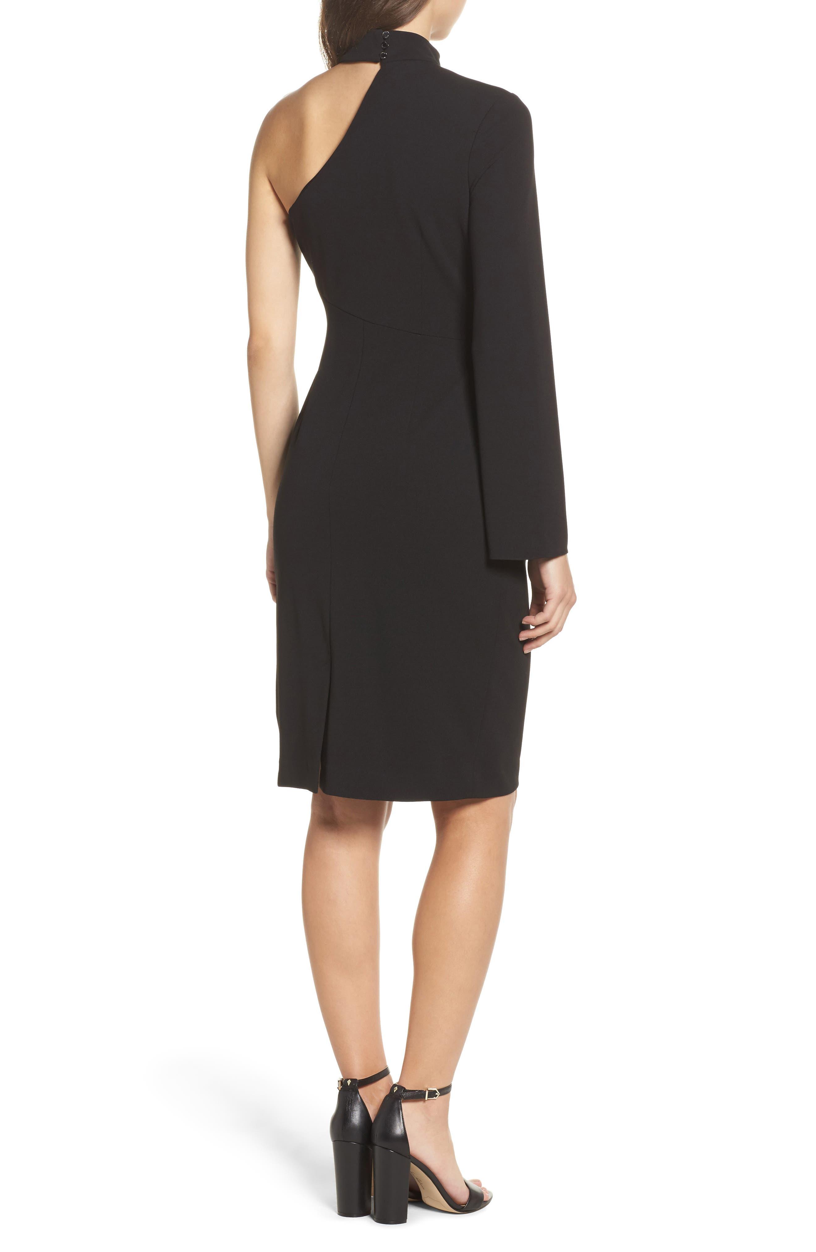 Choker One-Shoulder Dress,                             Alternate thumbnail 2, color,                             001