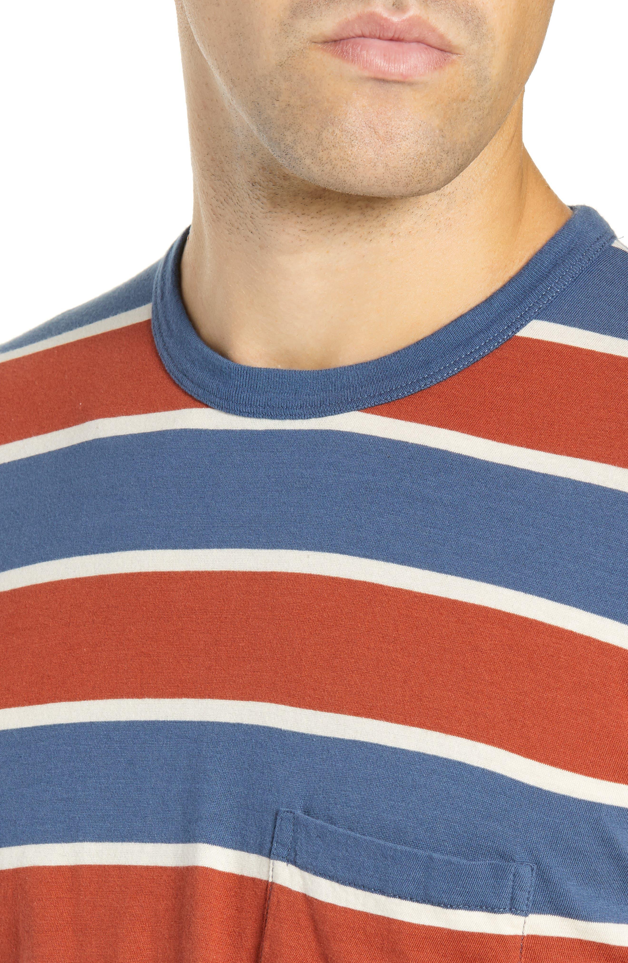 1960s Slim Fit Stripe T-Shirt,                             Alternate thumbnail 4, color,                             DARK DENIM MULTI STRIPE