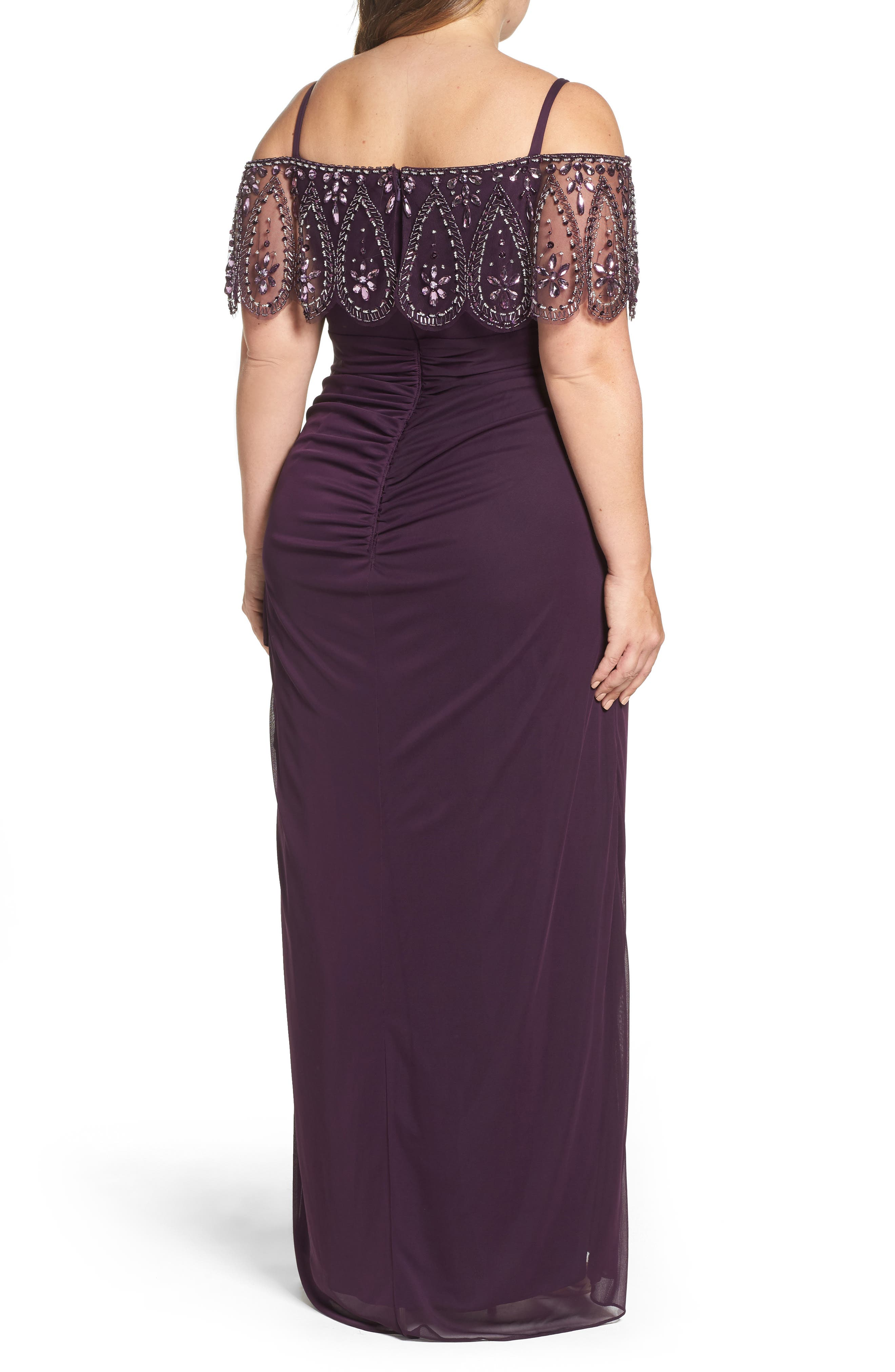 Beaded Cold Shoulder Gown,                             Alternate thumbnail 2, color,                             518