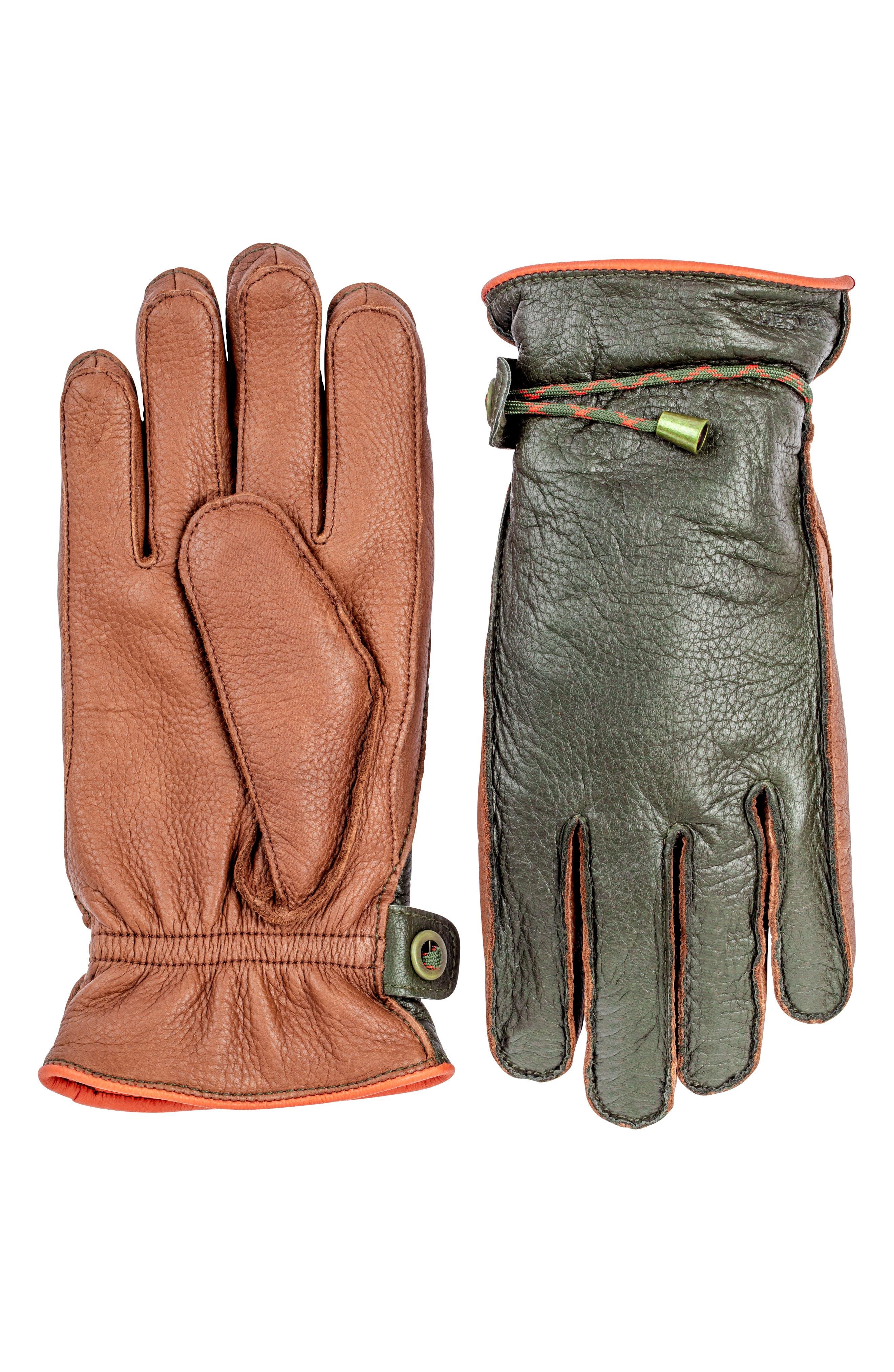 'Granvik' Leather Gloves,                         Main,                         color, DARK FOREST/ CHESTNUT