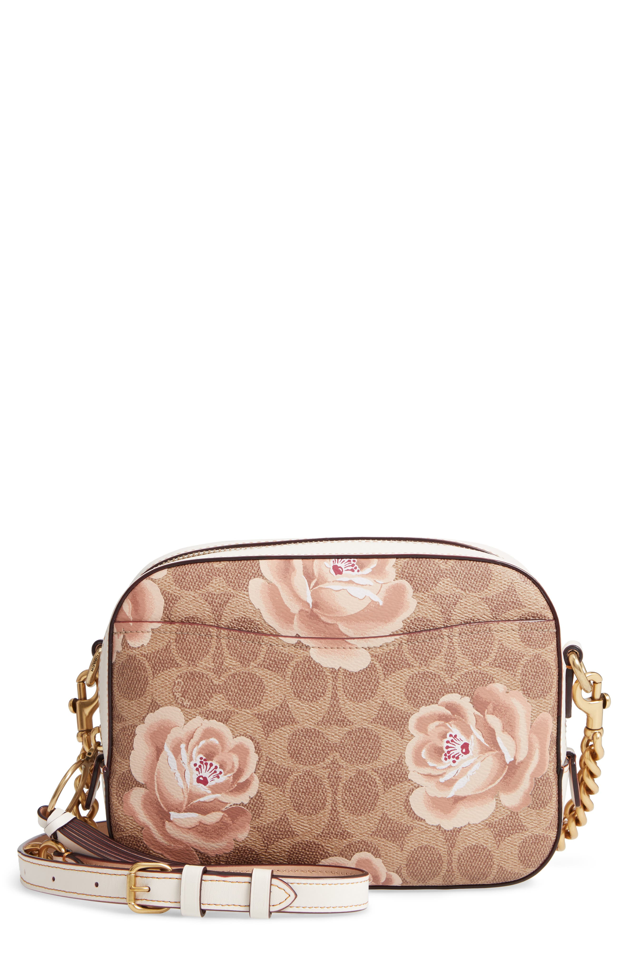Signature Rose Coated Canvas Camera Bag,                             Main thumbnail 1, color,                             250